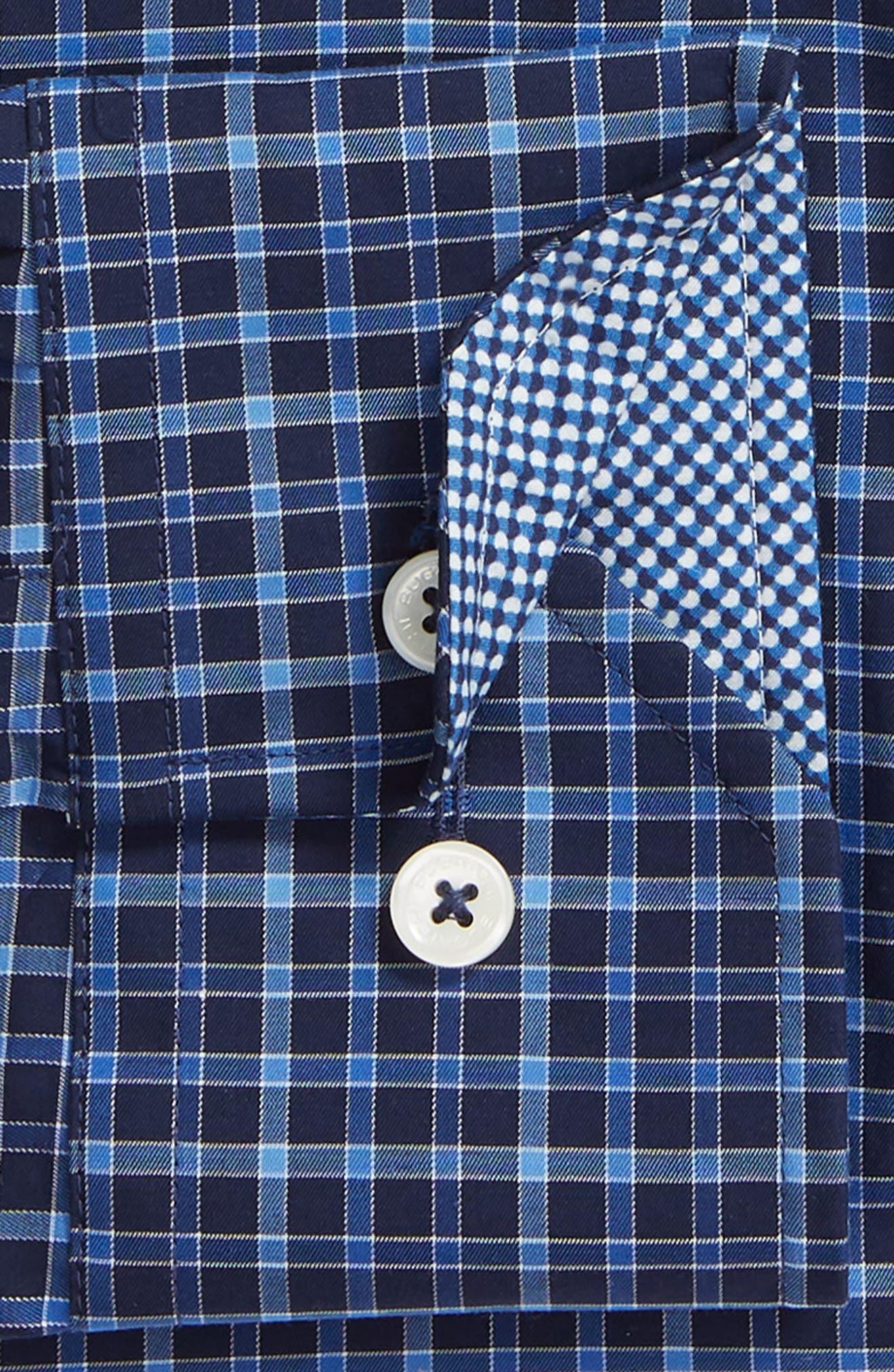 Trim Fit Check Dress Shirt,                             Alternate thumbnail 6, color,                             MIDNIGHT