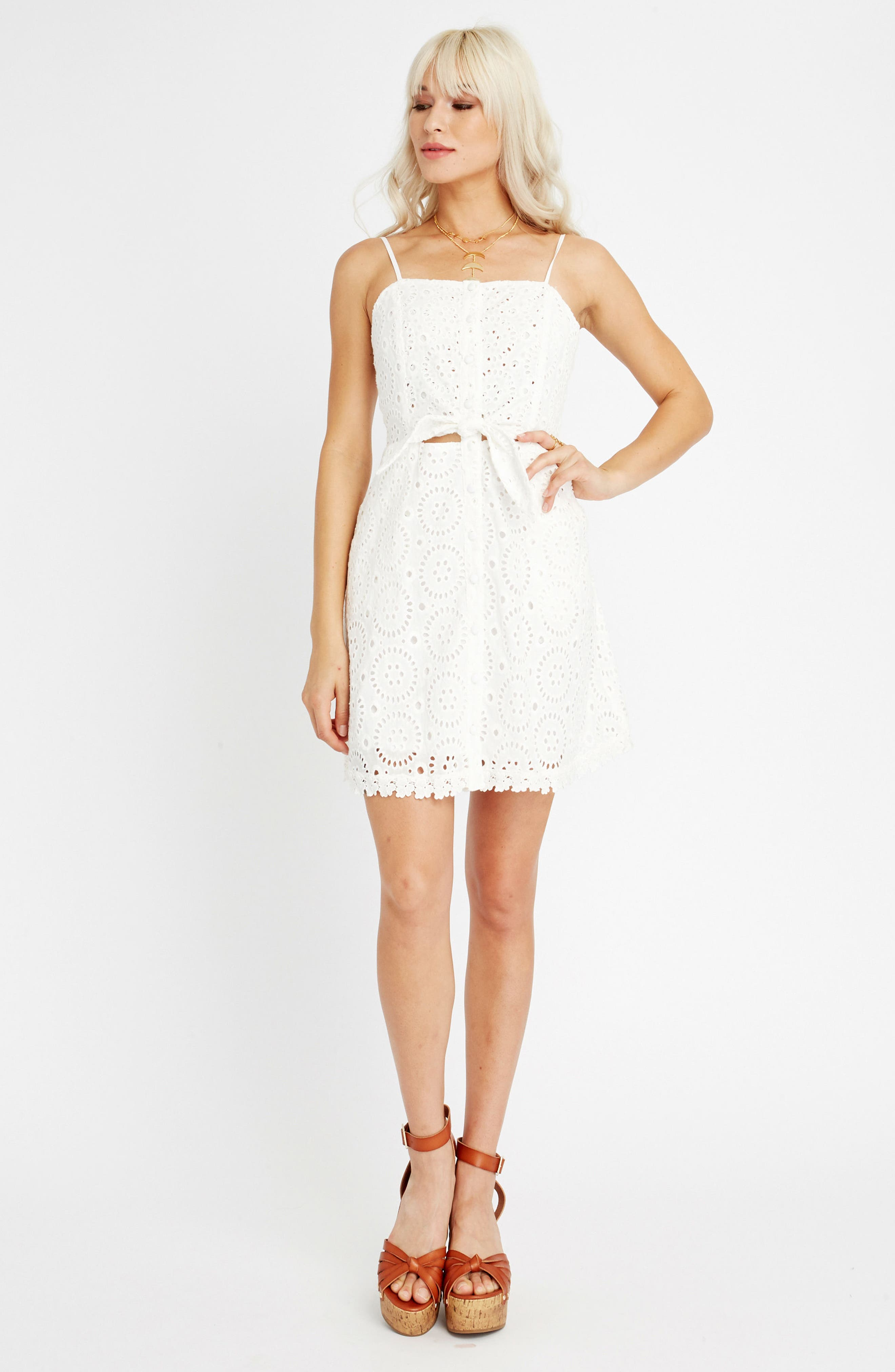 Bianca Eyelet Minidress,                             Alternate thumbnail 8, color,