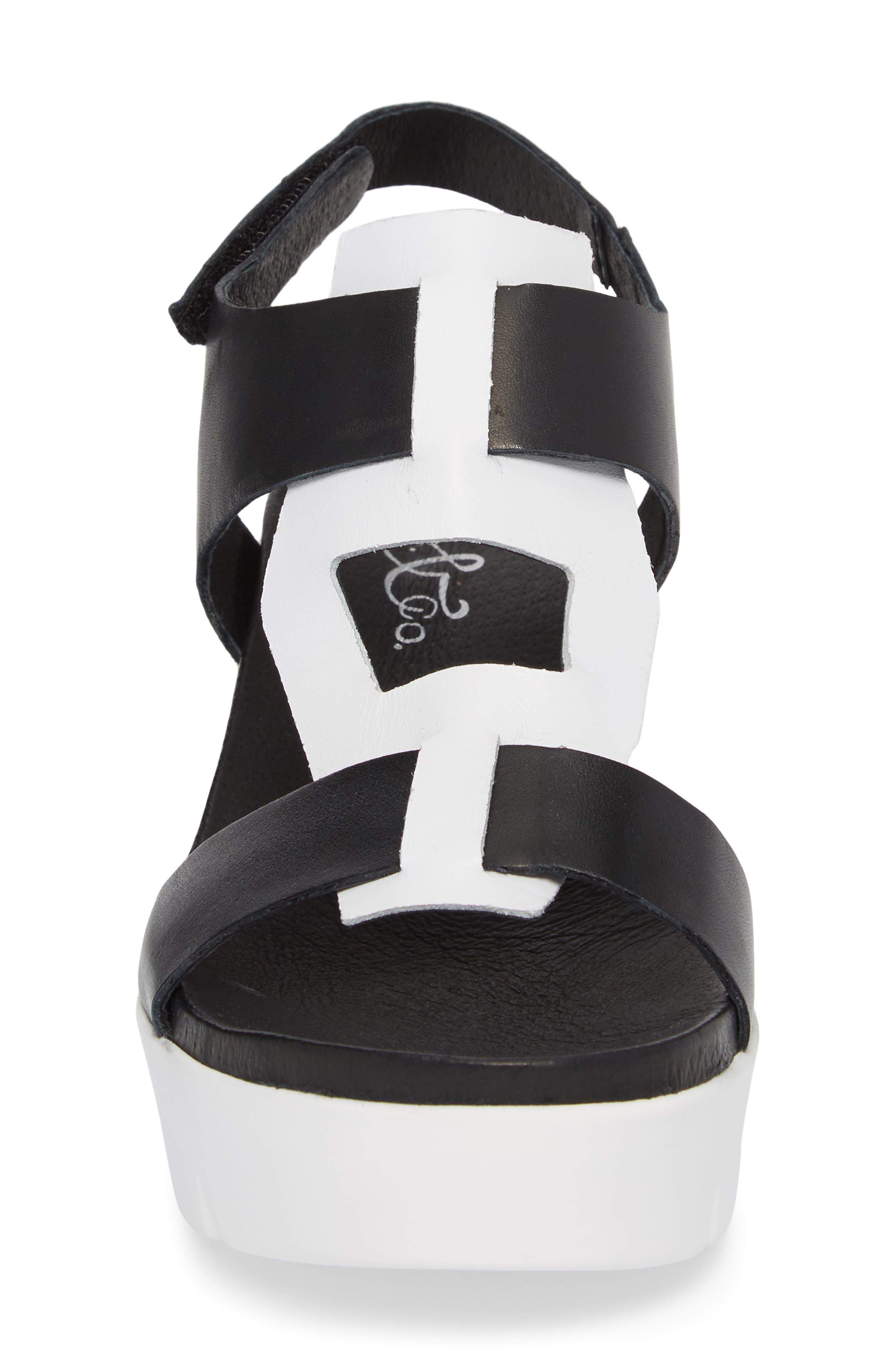 Somo Platform Wedge Sandal,                             Alternate thumbnail 4, color,                             BLACK/ WHITE SMOOTH LEATHER