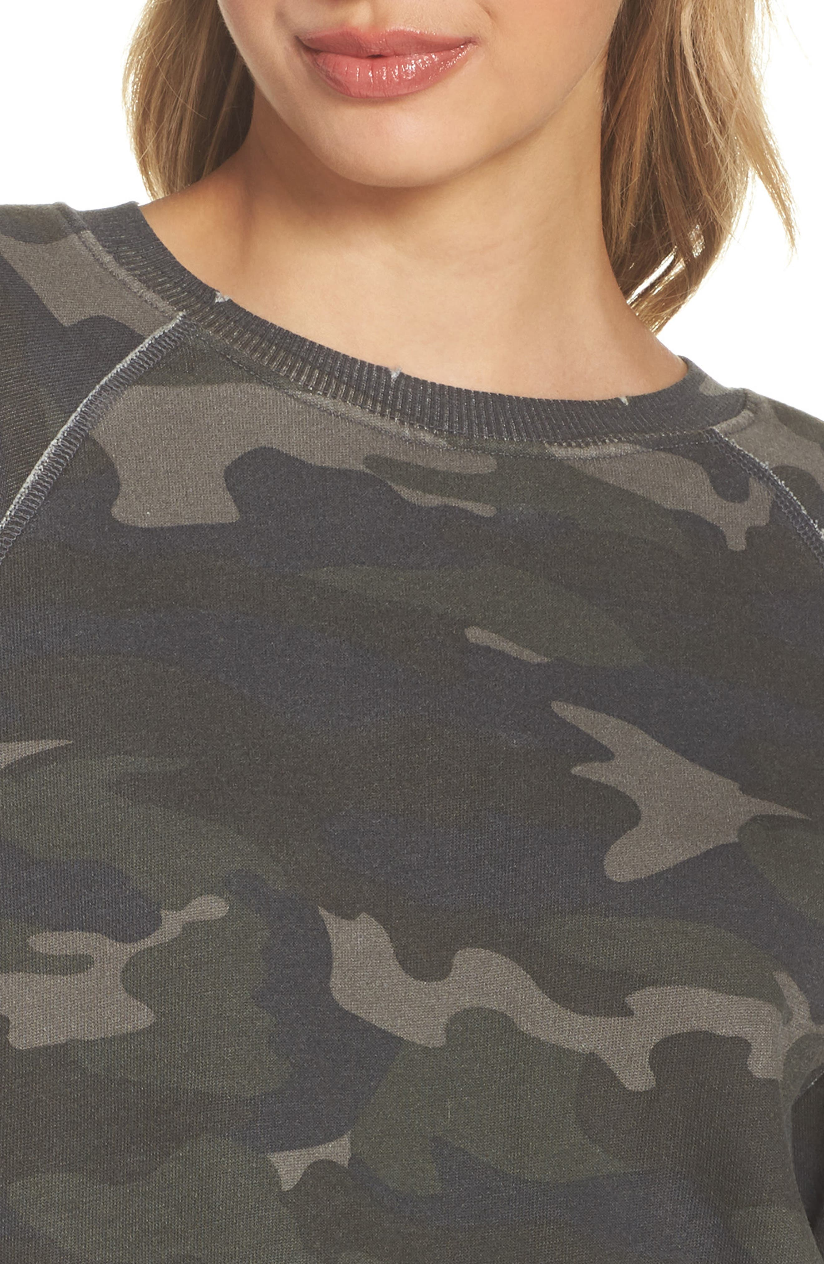 Camo Oversize Sweatshirt,                             Alternate thumbnail 4, color,                             CAMO