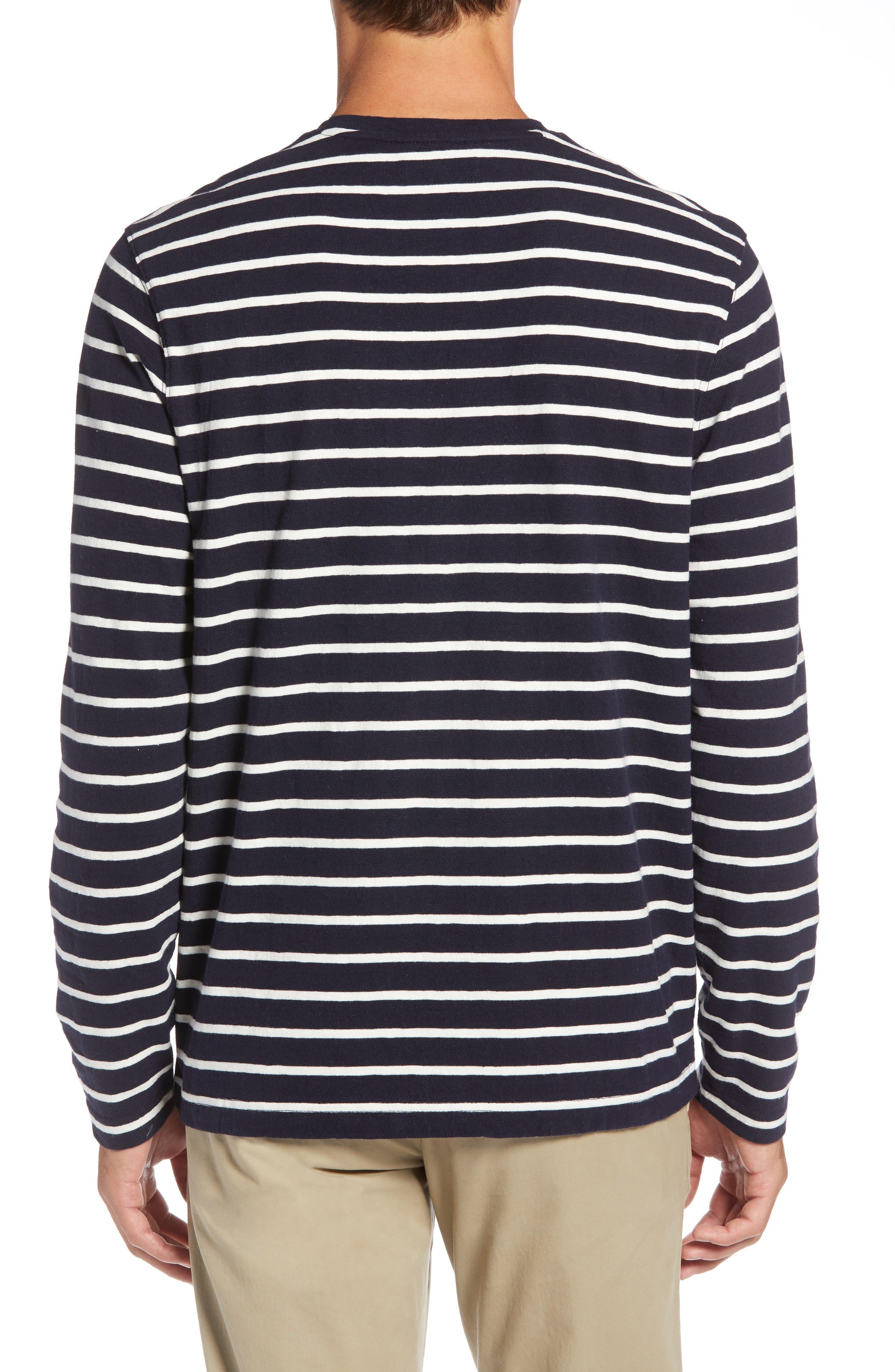Stripe Long Sleeve T-Shirt,                             Alternate thumbnail 2, color,                             NAVY NIGHT ECRU STRIPE