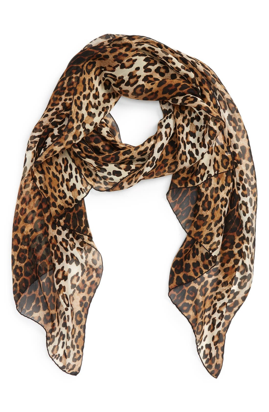GIVENCHY Leopard Print Silk Scarf, Main, color, 200