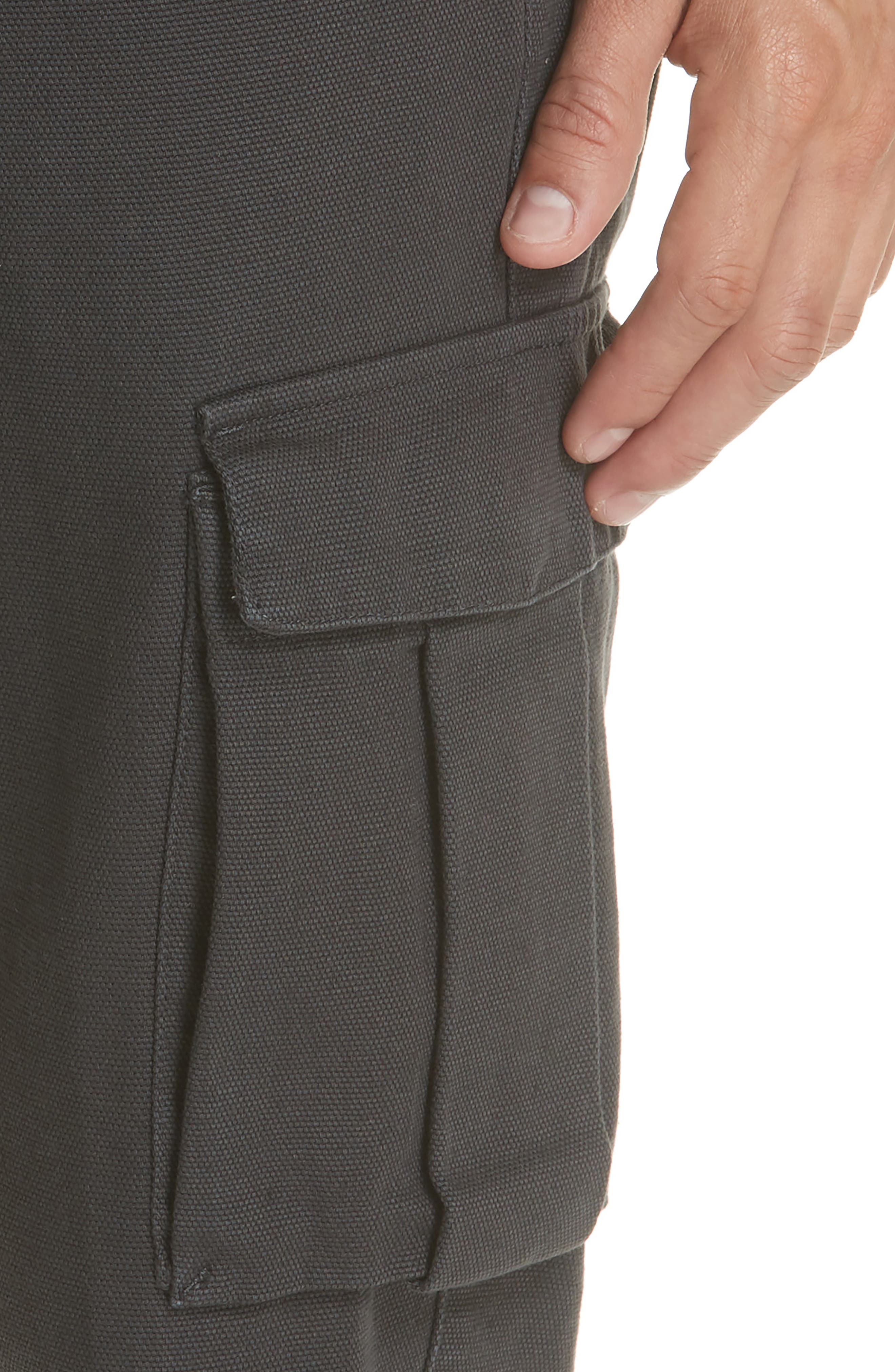 Stretch Canvas Cargo Pants,                             Alternate thumbnail 4, color,                             CHARCOAL