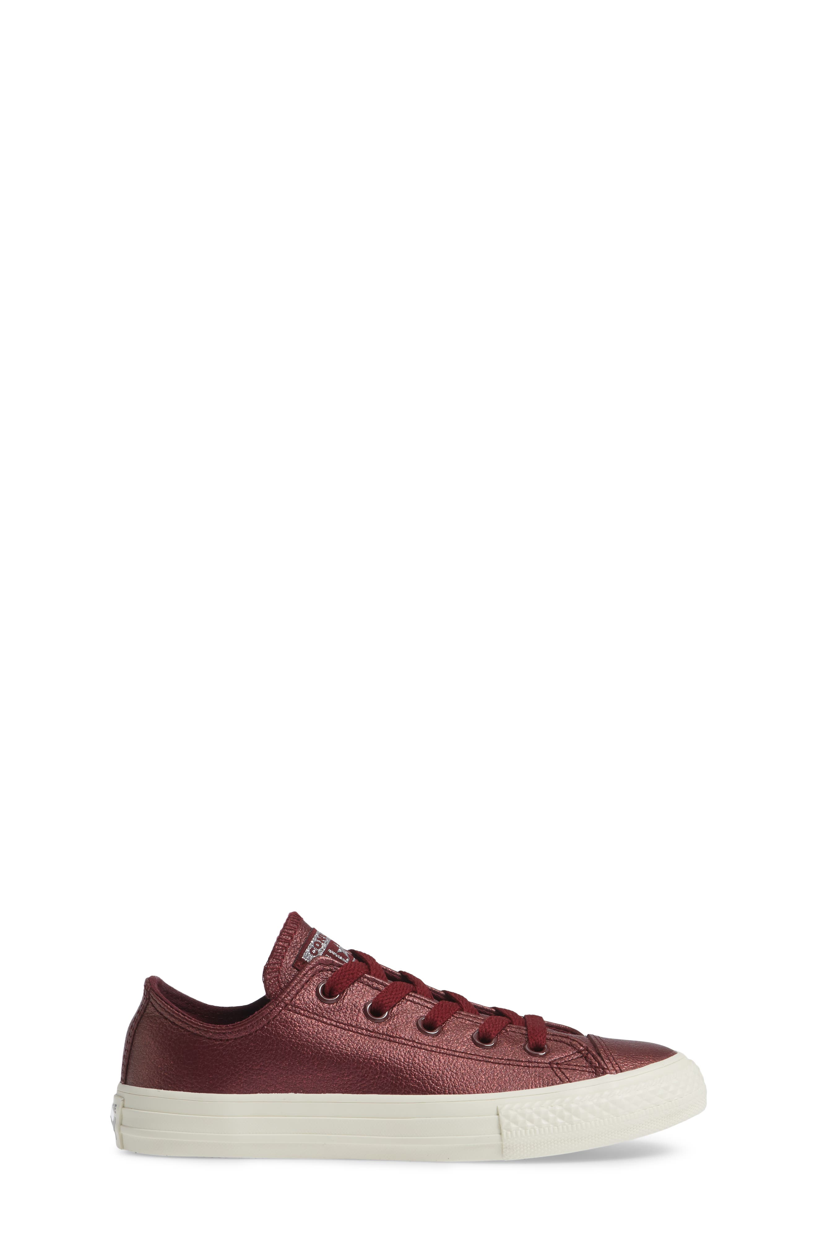 Chuck Taylor<sup>®</sup> All Star<sup>®</sup> Metallic Faux Leather Ox Sneaker,                             Alternate thumbnail 3, color,                             DARK BURGUNDY
