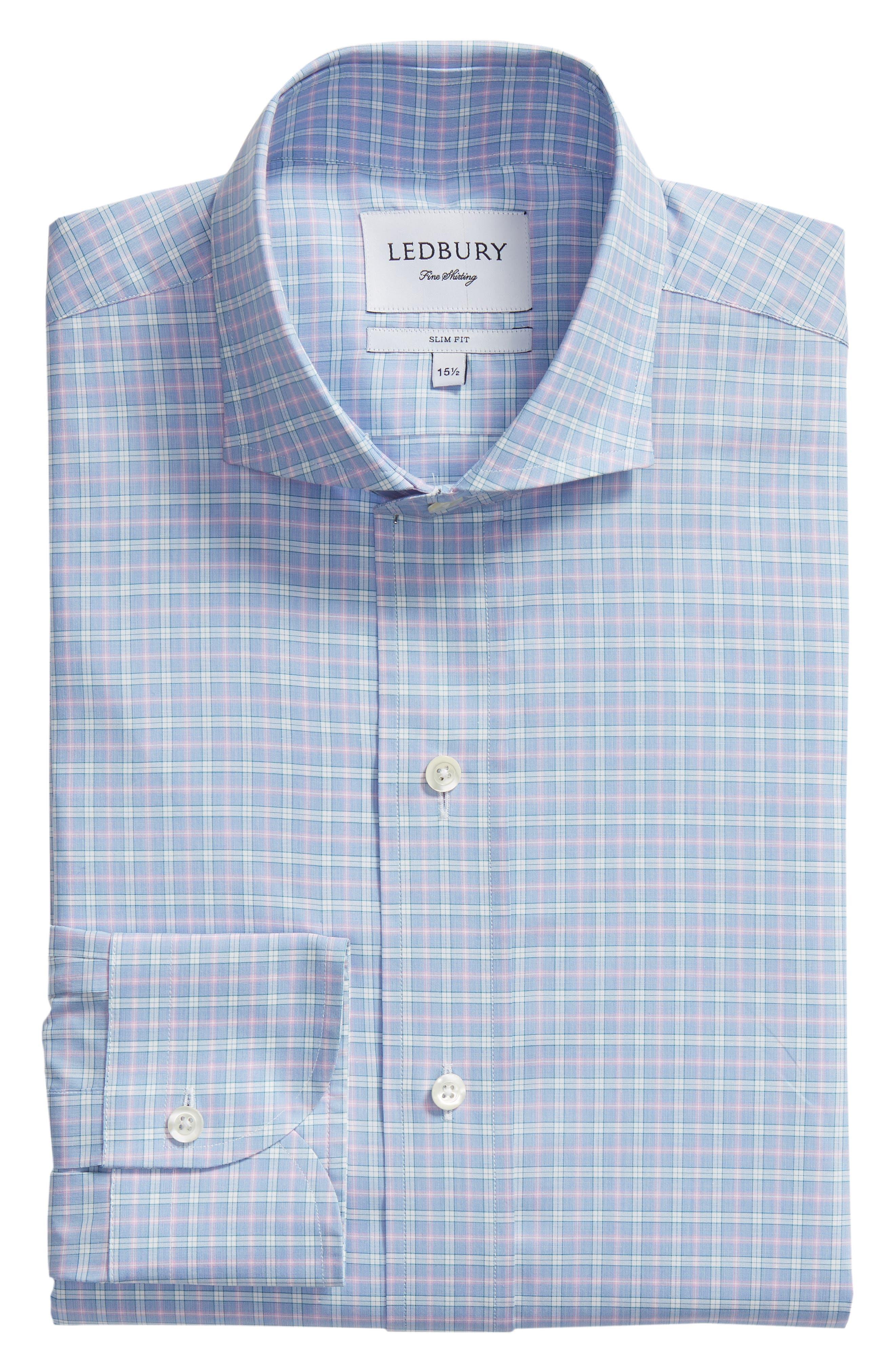 Ferris Slim Fit Check Dress Shirt,                             Alternate thumbnail 5, color,                             LIGHT/ PASTEL BLUE