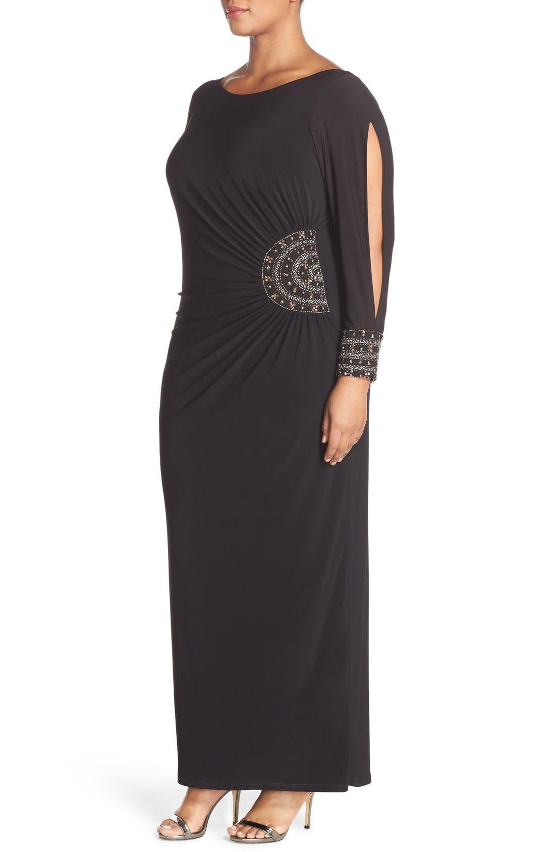 Embellished Stretch Jersey Long Dress,                             Alternate thumbnail 3, color,                             BLACK/ GOLD