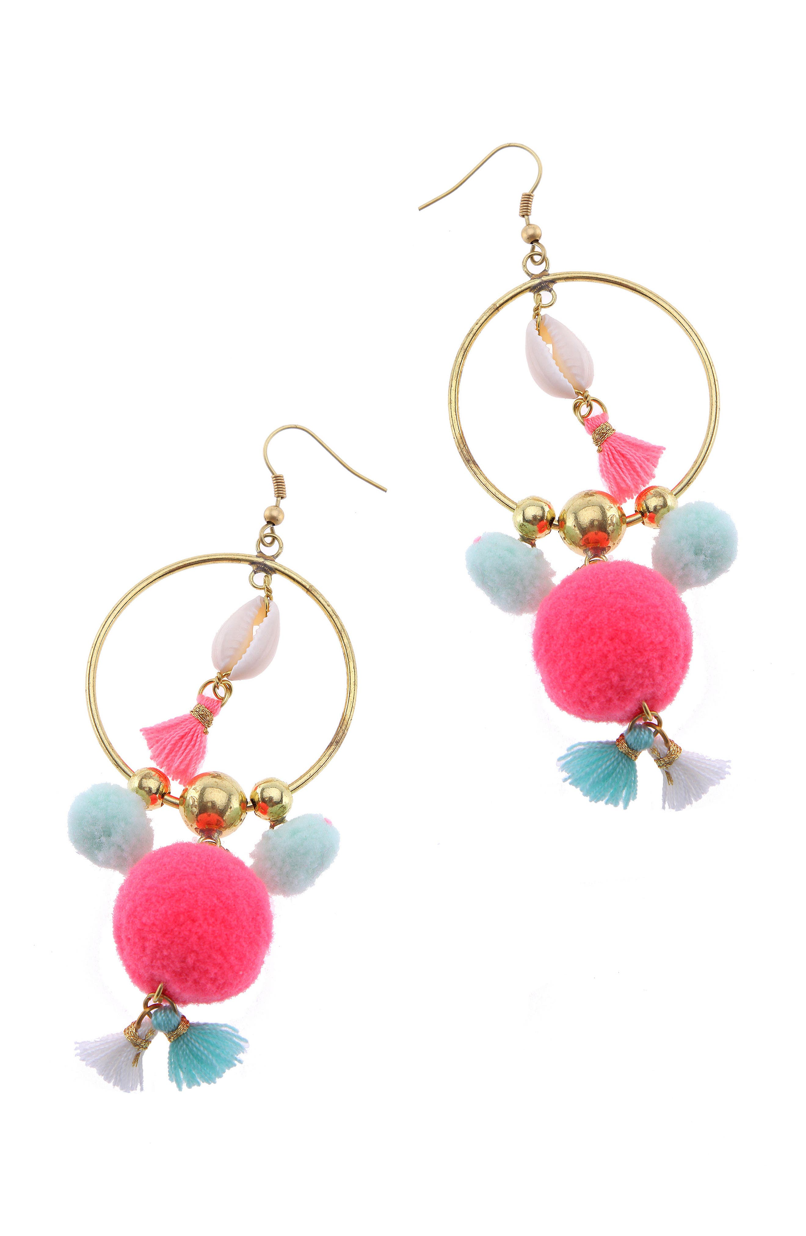 Pom Hoop Earrings,                         Main,                         color, 650