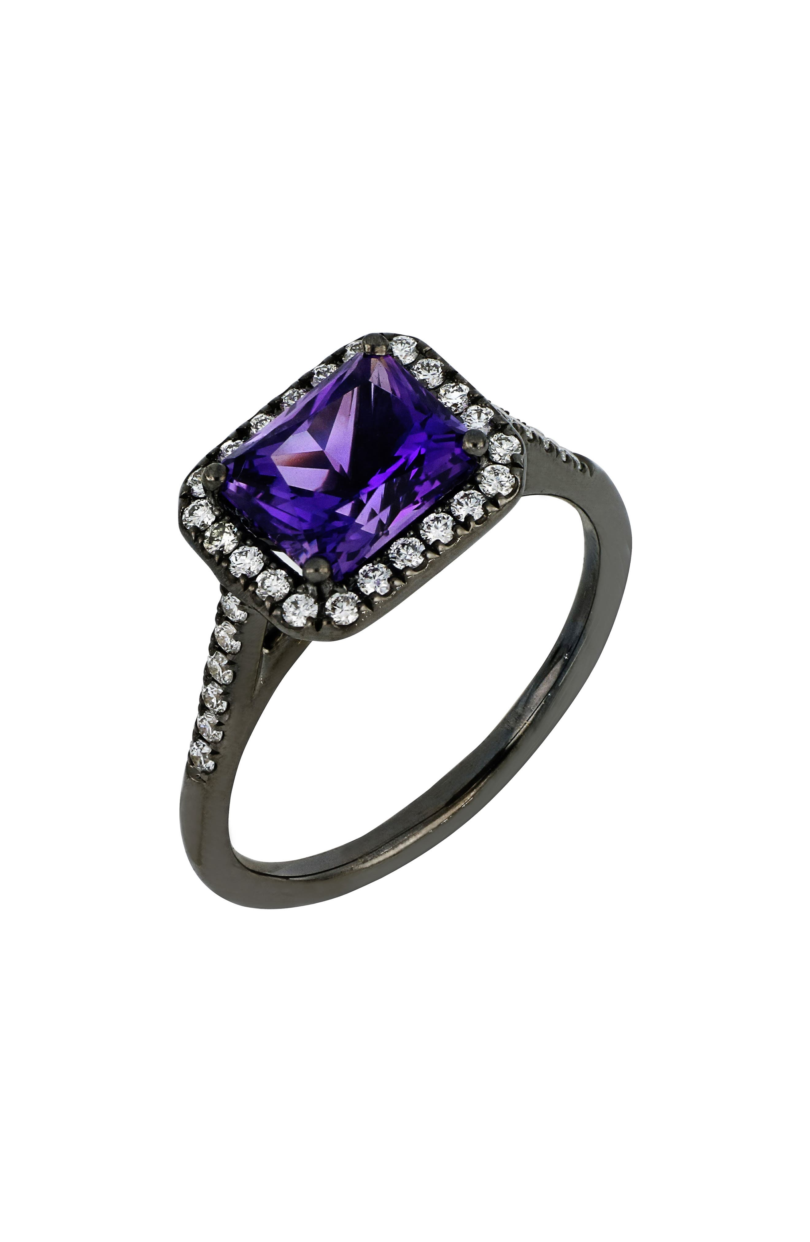 Square Amethyst & Diamond Ring,                         Main,                         color, 520