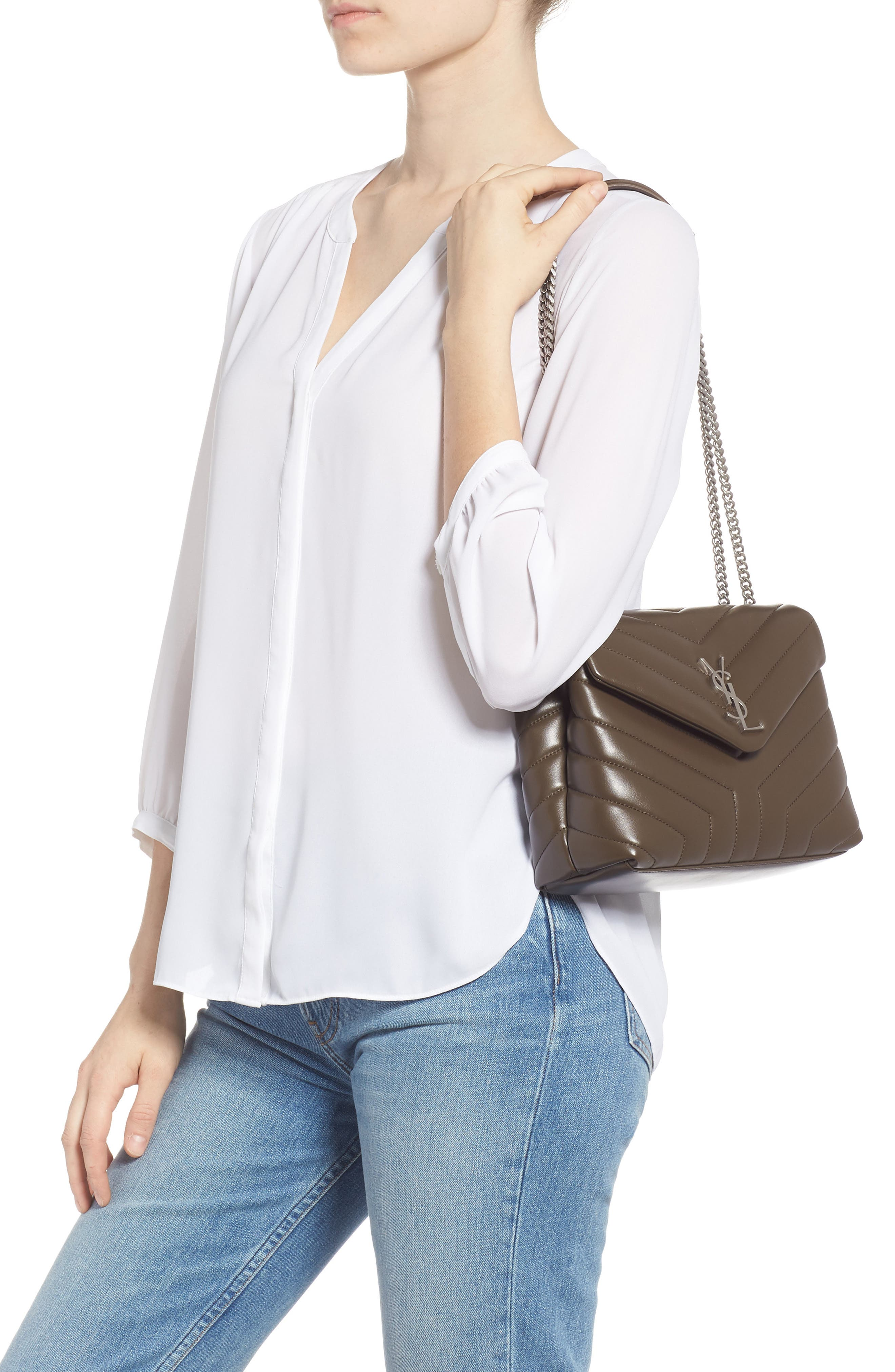 Small Loulou Matelassé Leather Shoulder Bag,                             Alternate thumbnail 2, color,                             FAGGIO/ FAGGIO