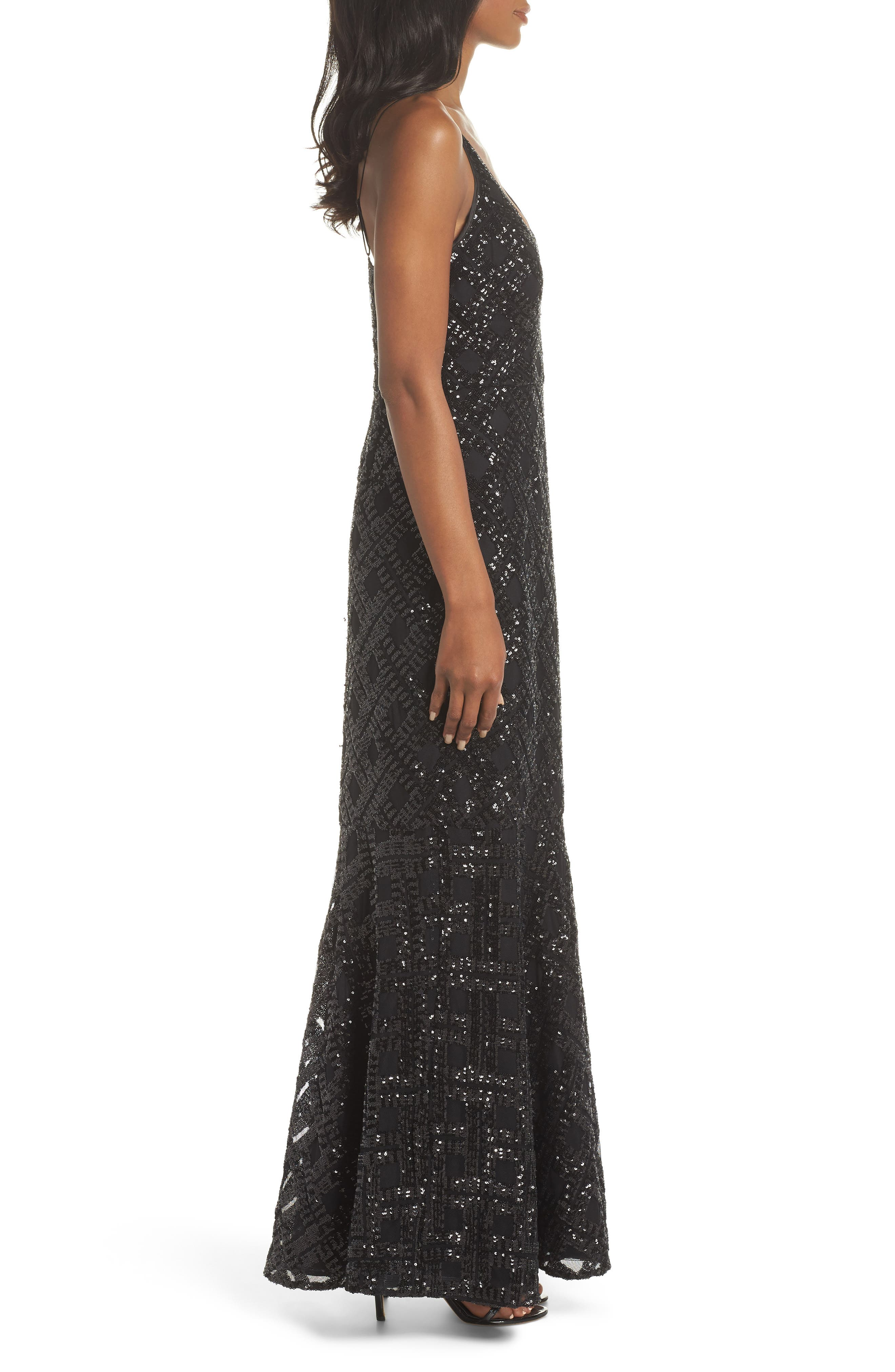 Embellished Fishtail Gown,                             Alternate thumbnail 3, color,                             BLACK