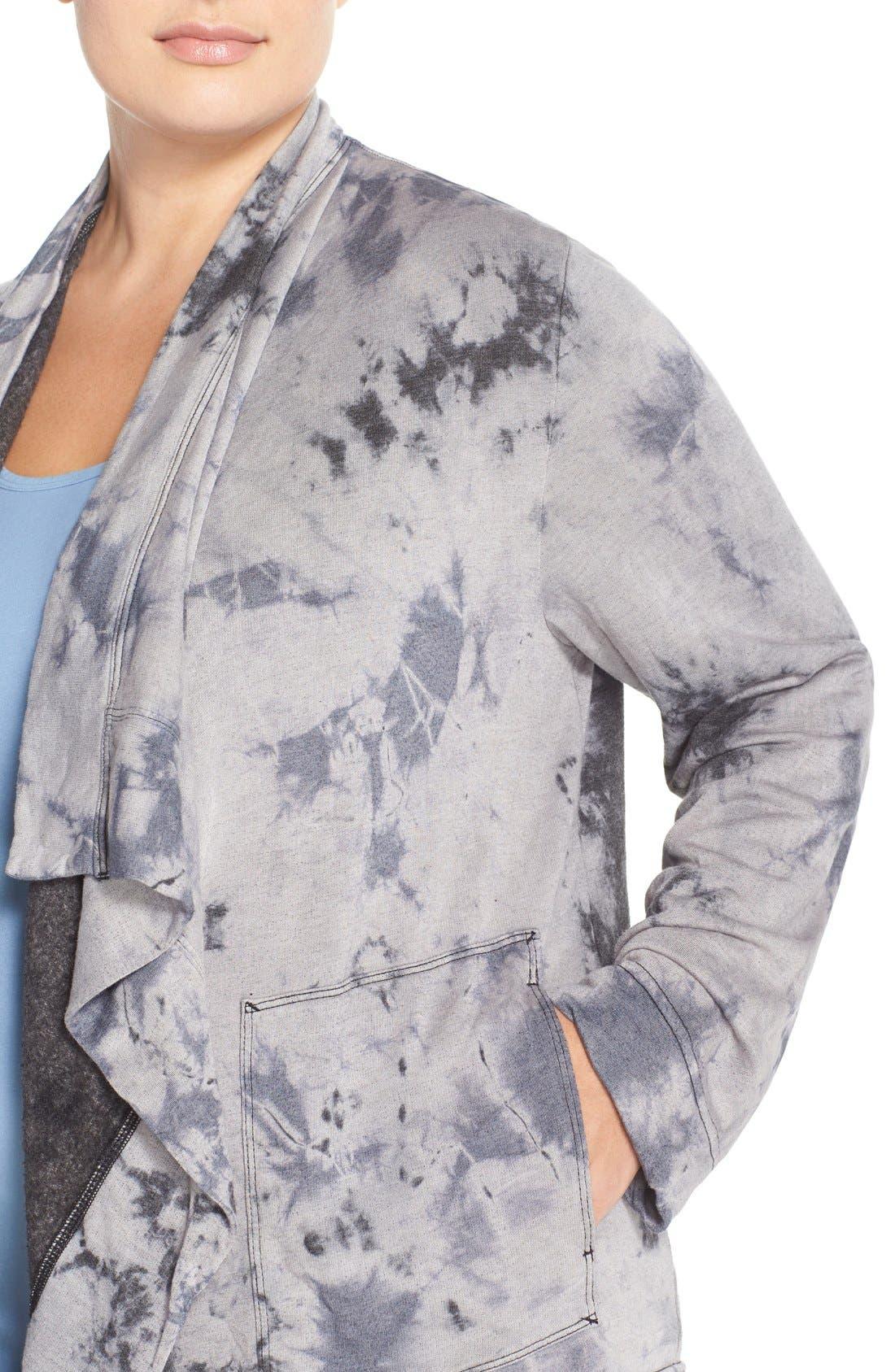 HARD TAIL,                             Fleece Lined Wrap Cardigan,                             Alternate thumbnail 3, color,                             005