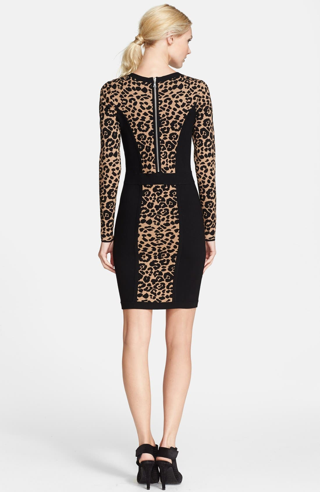 Cheetah Jacquard Sheath Dress,                             Alternate thumbnail 2, color,                             001