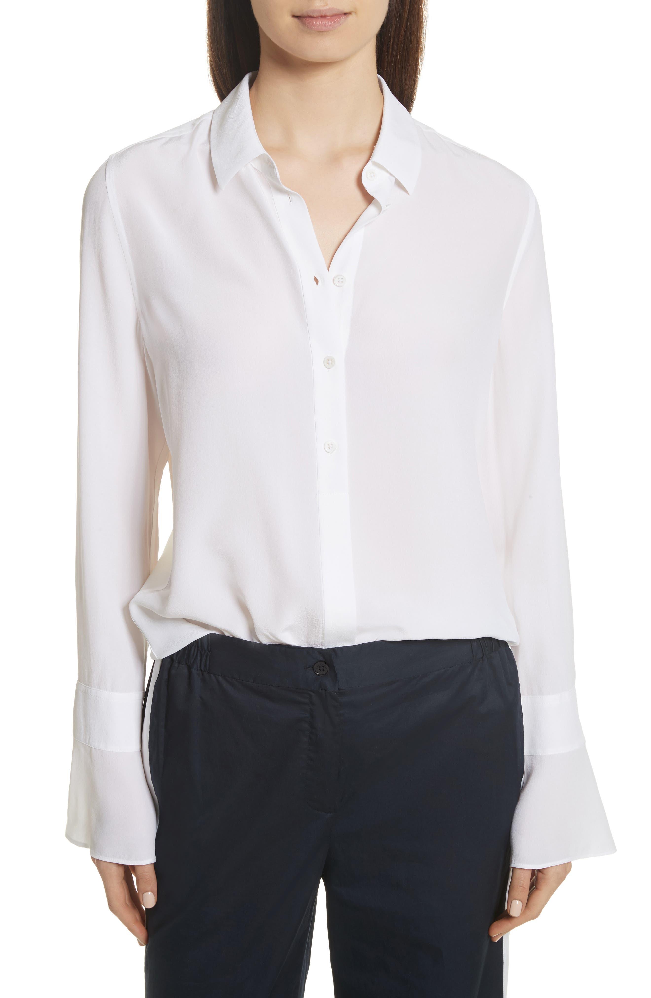 Daphine Bell Cuff Silk Shirt,                             Main thumbnail 2, color,