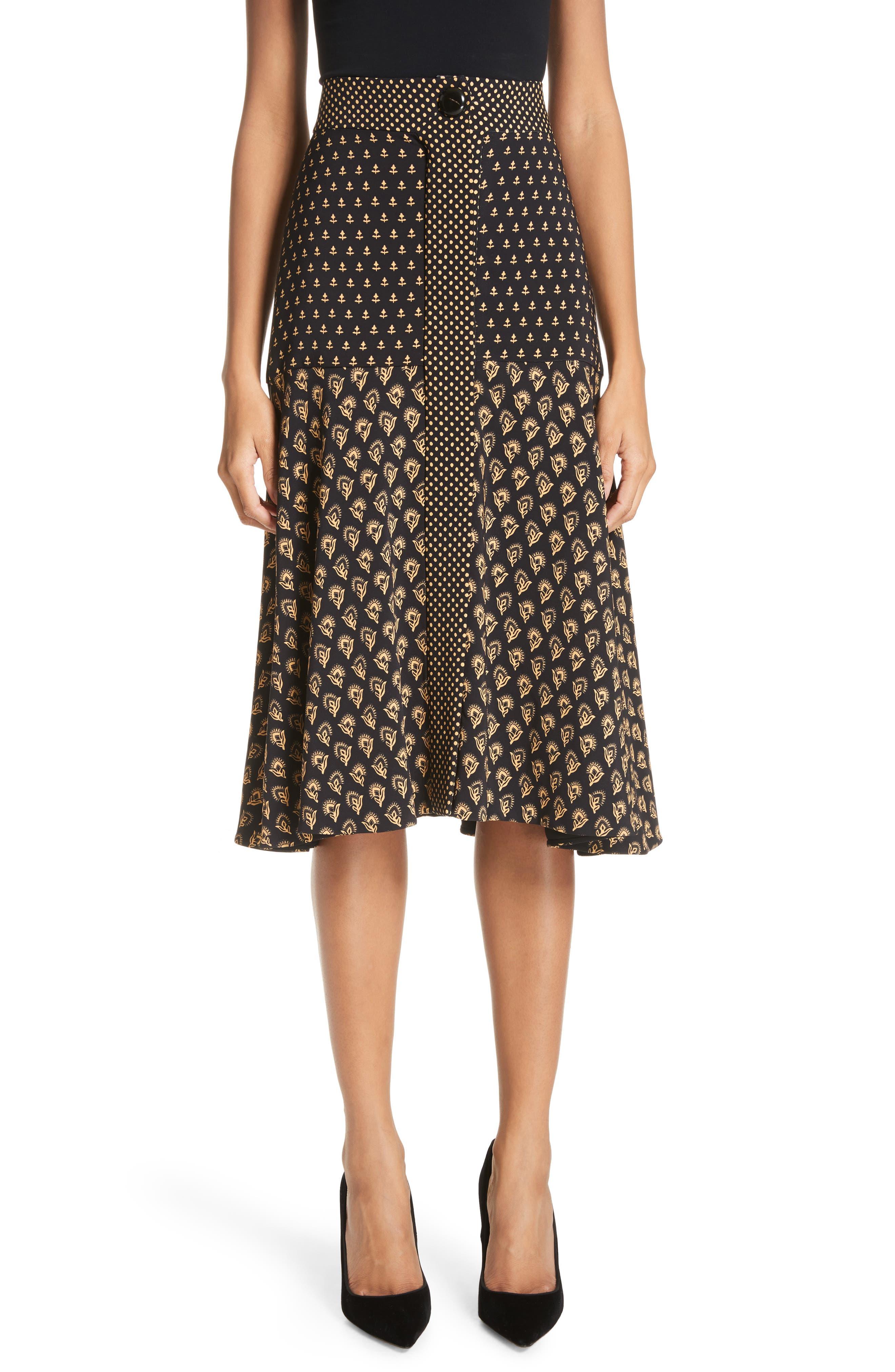 Mixed Print Crepe Midi Skirt,                             Main thumbnail 1, color,                             BLACK/ TAN FLOWER