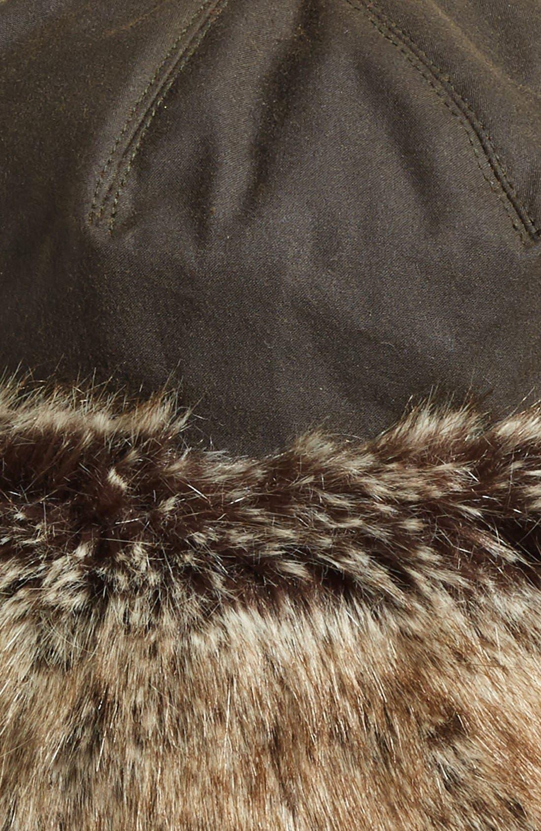 'Ambush' Waxed Cotton Hat with Faux Fur Trim,                             Alternate thumbnail 2, color,                             OLIVE