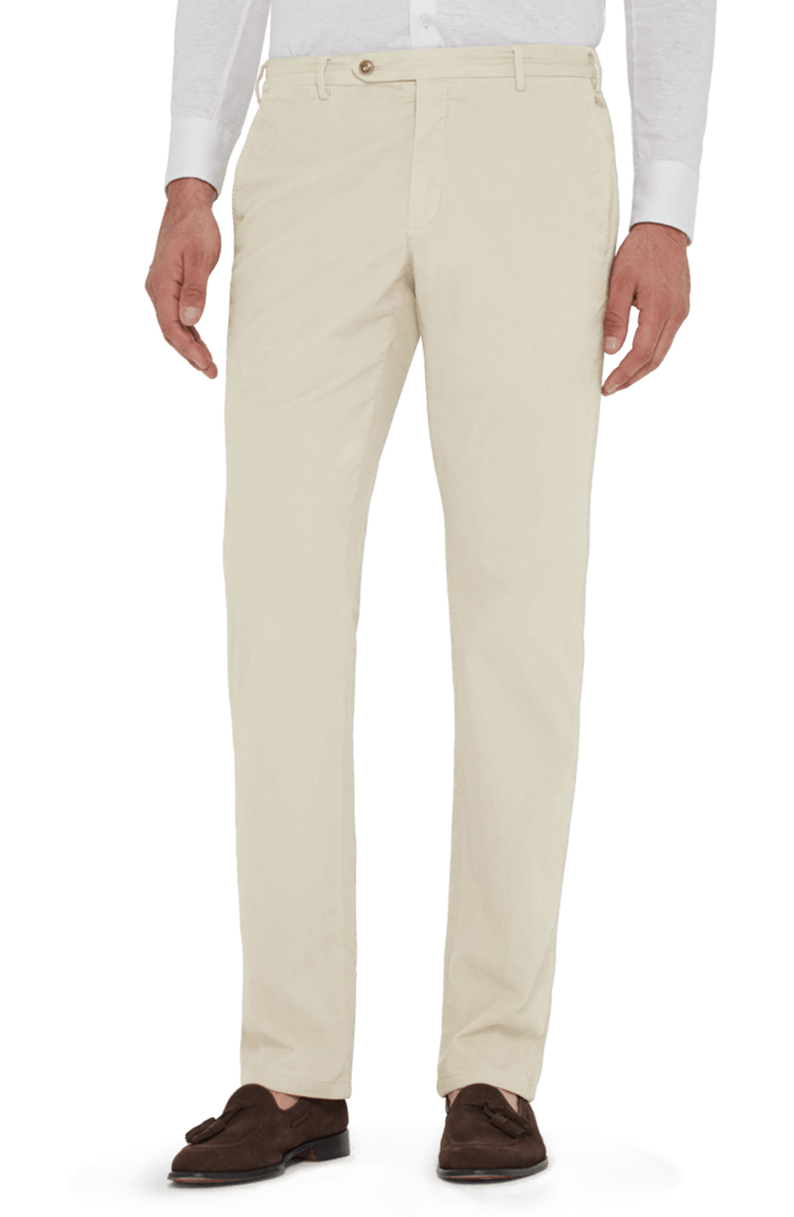 Curtis Flat Front Stretch Corduroy Cotton Trousers,                         Main,                         color, IVORY