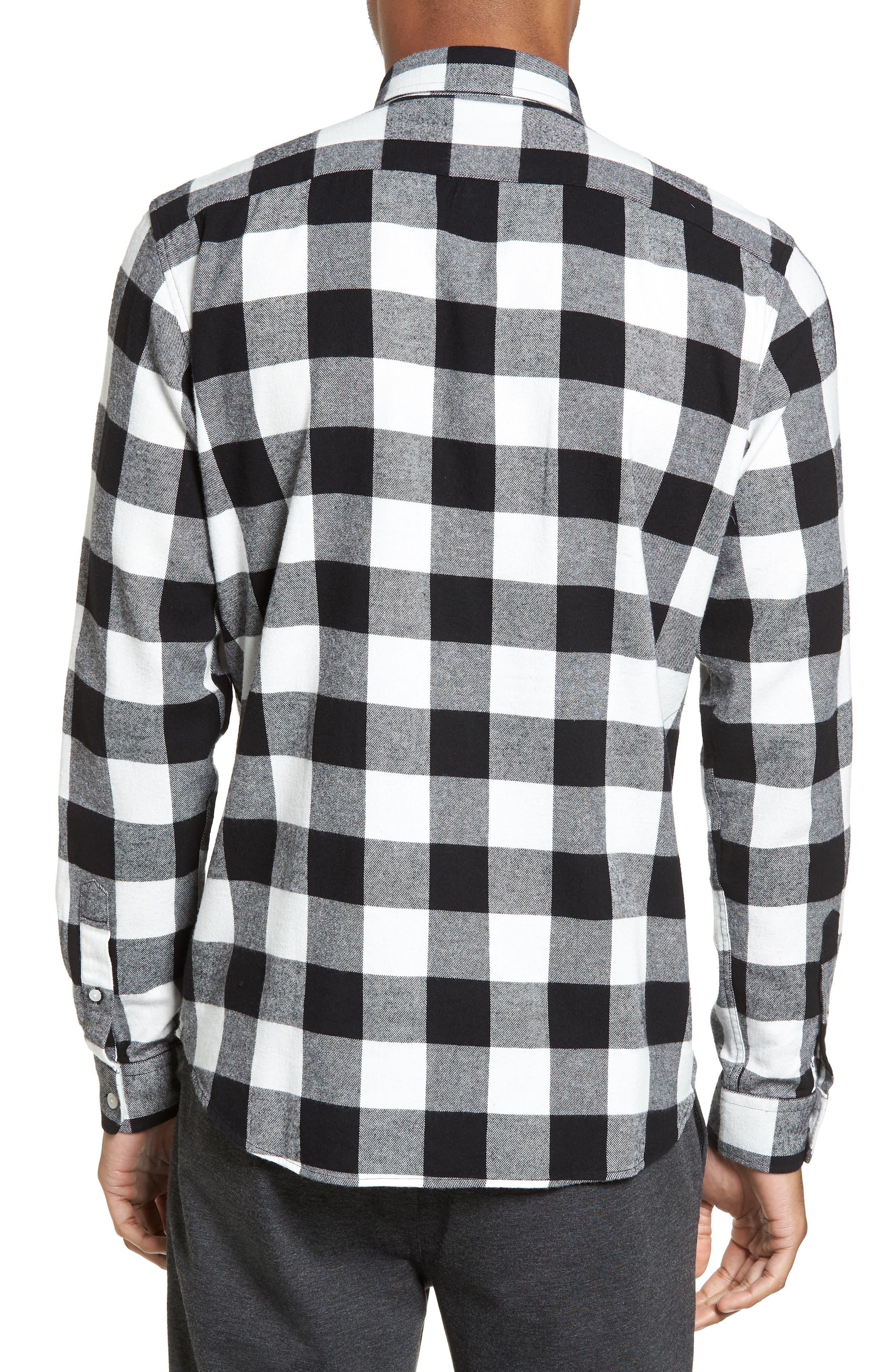 Trim Fit Buffalo Plaid Flannel Sport Shirt,                             Alternate thumbnail 2, color,                             001