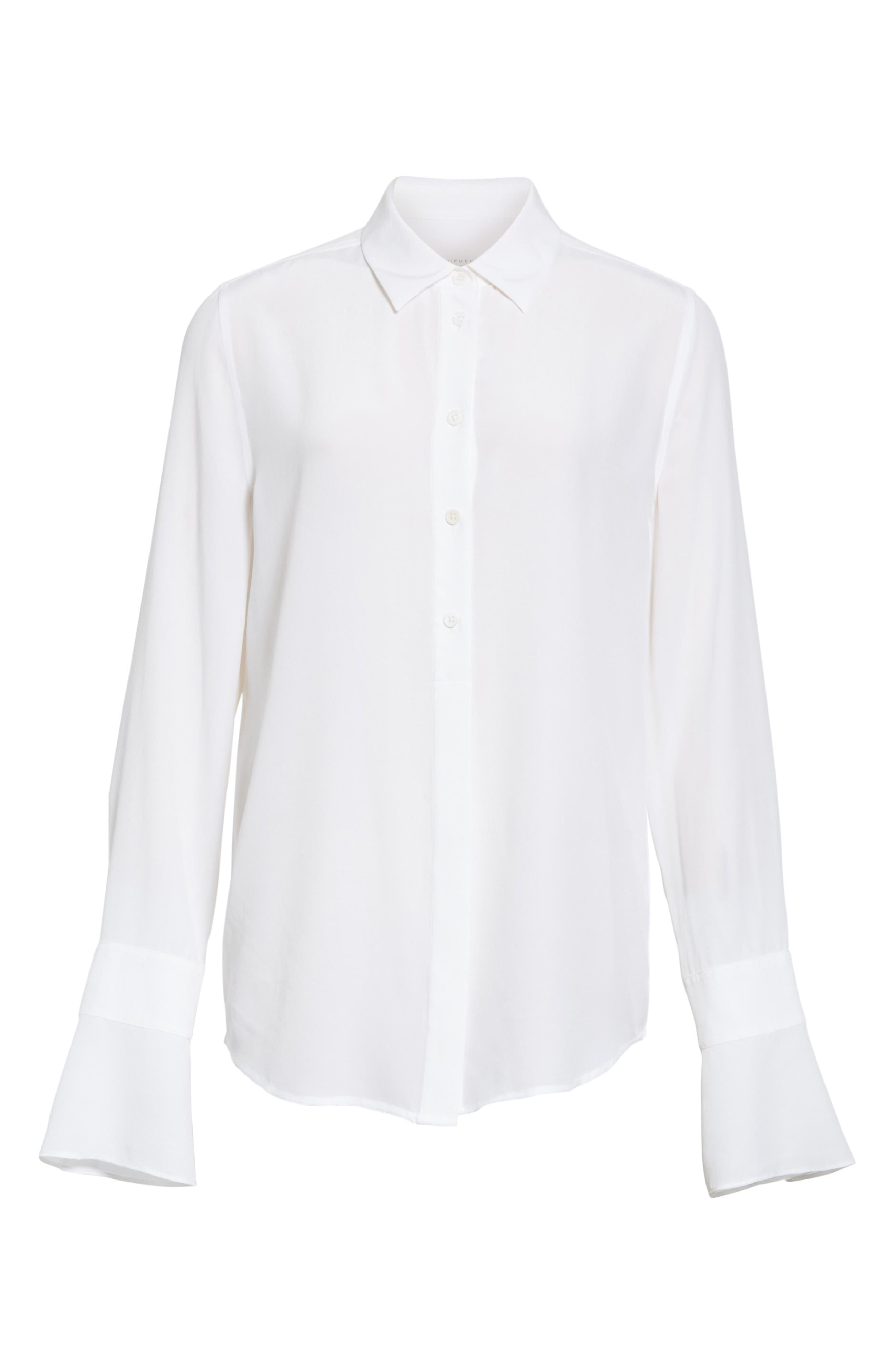 Daphine Bell Cuff Silk Shirt,                             Alternate thumbnail 12, color,