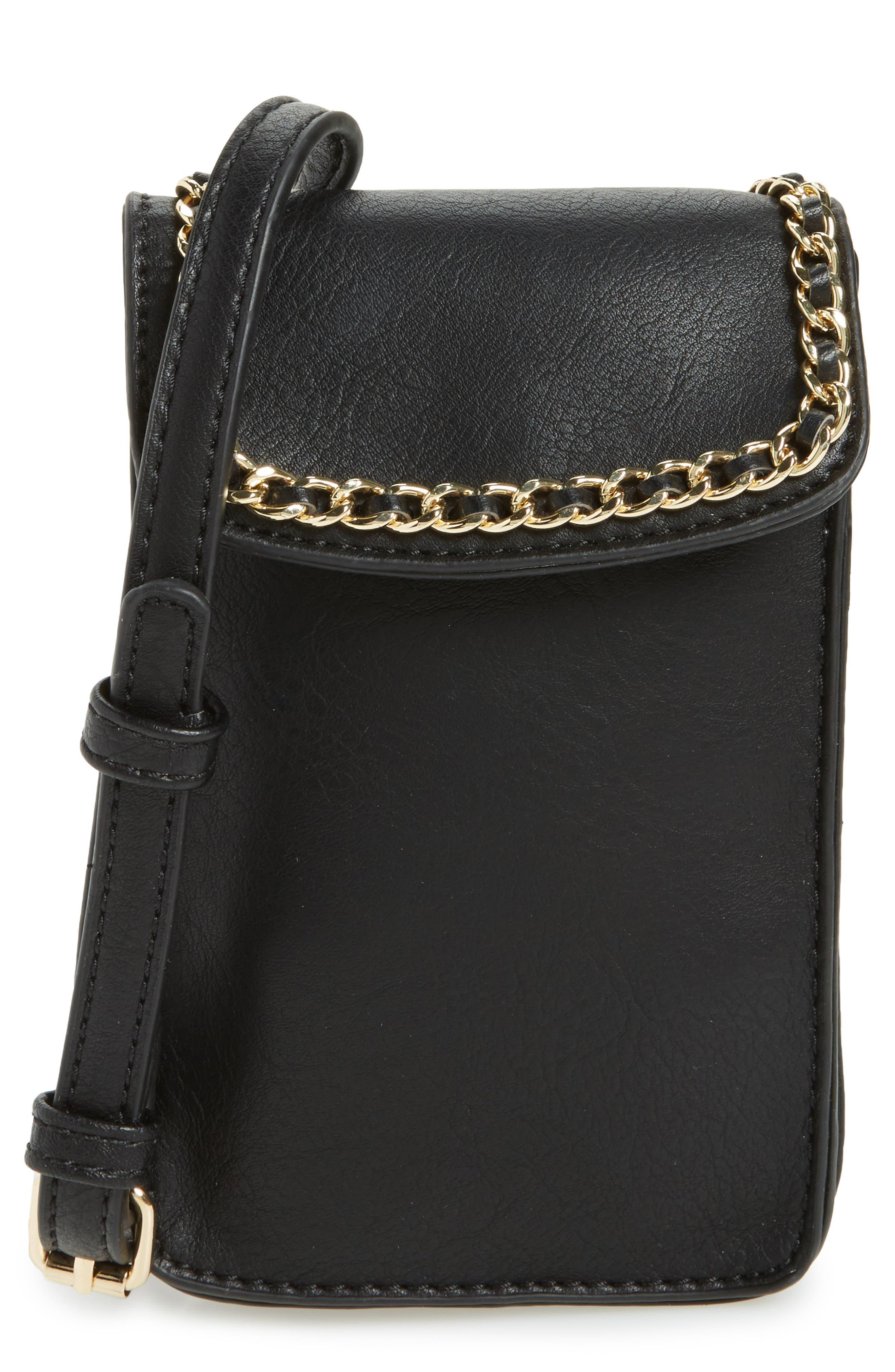 Chain Faux Leather Phone Crossbody Bag,                             Main thumbnail 1, color,