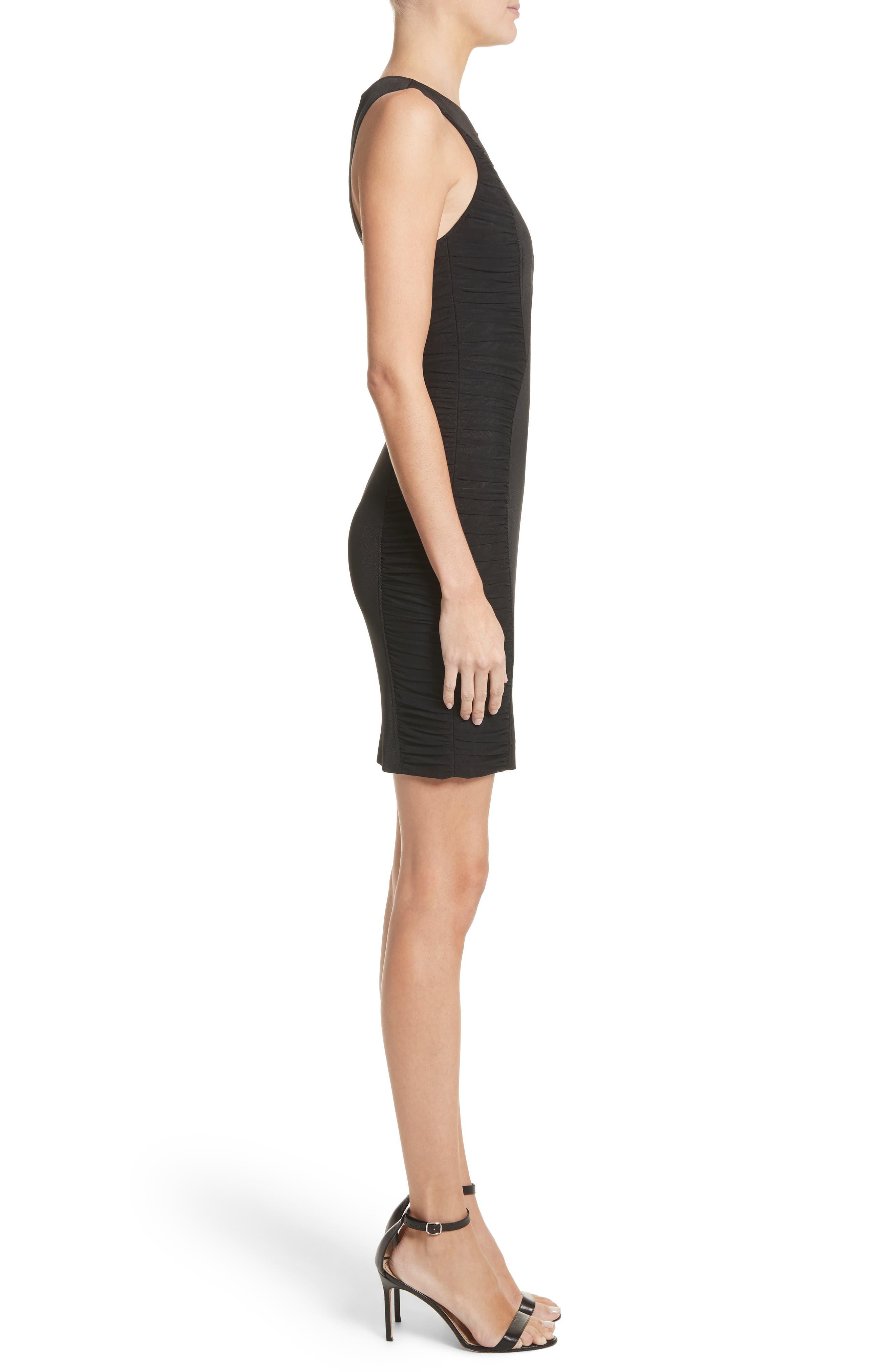 Ruched Piqué Sheath Dress,                             Alternate thumbnail 3, color,                             001