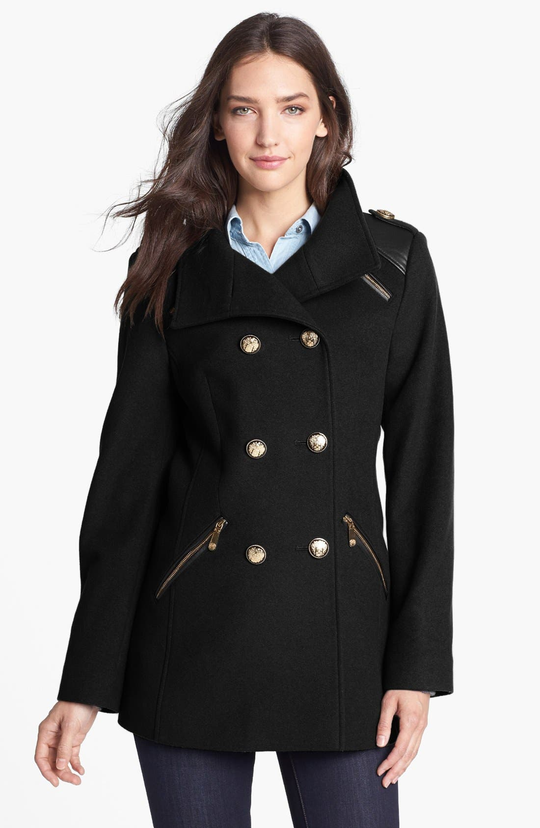 Wool Blend Military Peacoat,                         Main,                         color, 001