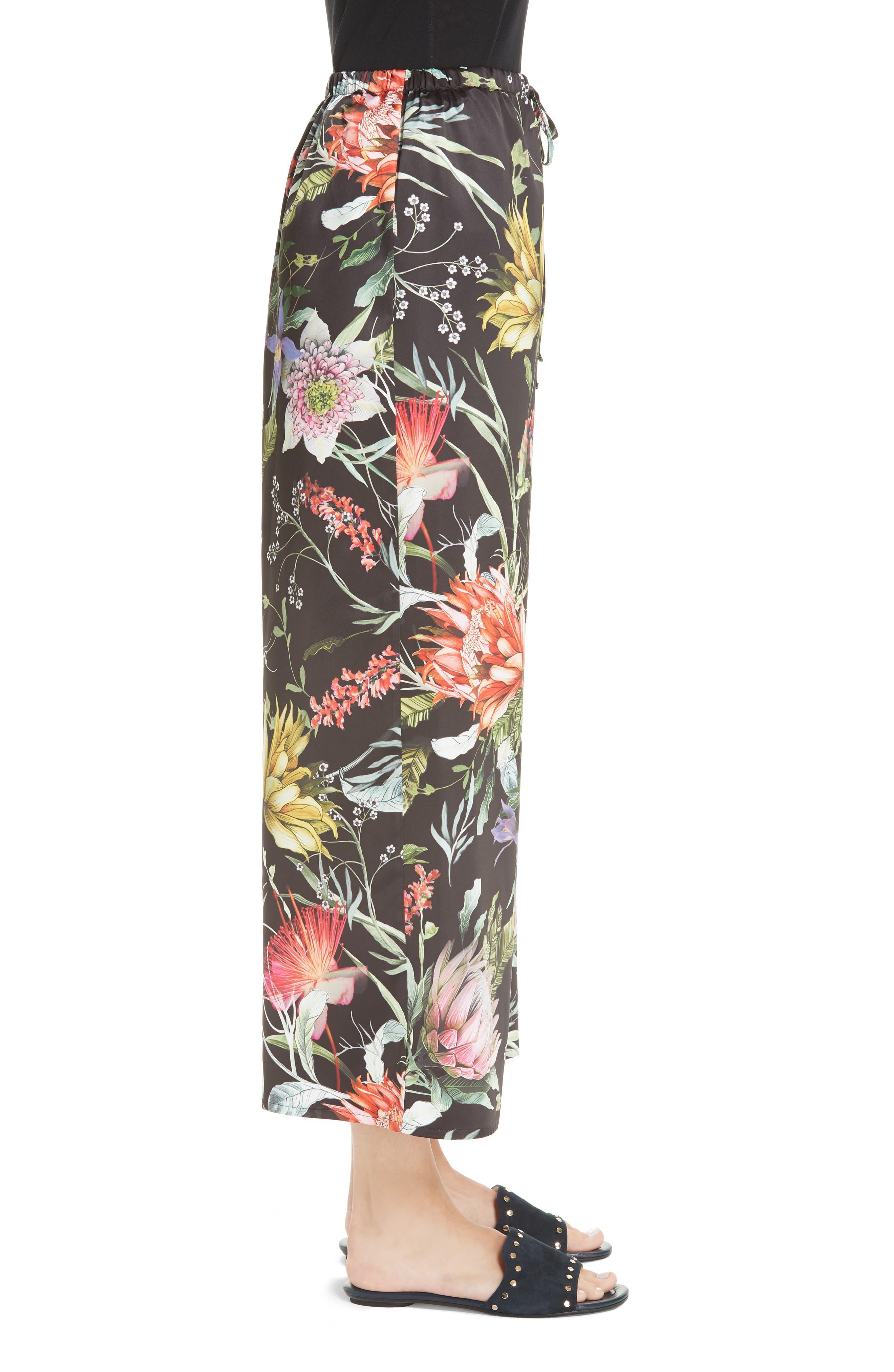 Floral Crop Wide Leg Pants,                             Alternate thumbnail 3, color,                             NERO