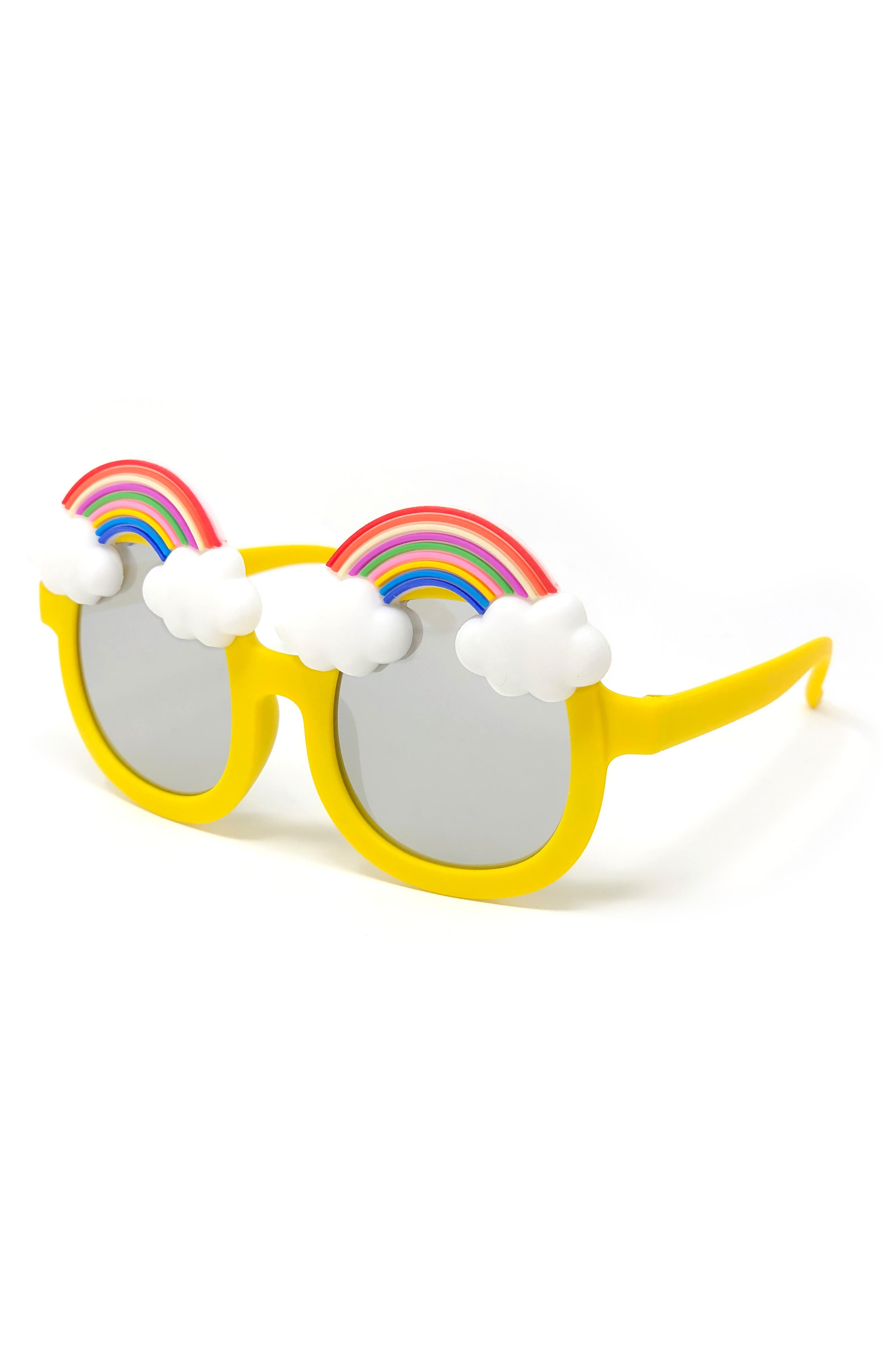 LOOSE LEAF EYEWEAR,                             Rainbow Mirrored Sunglasses,                             Main thumbnail 1, color,                             YELLOW