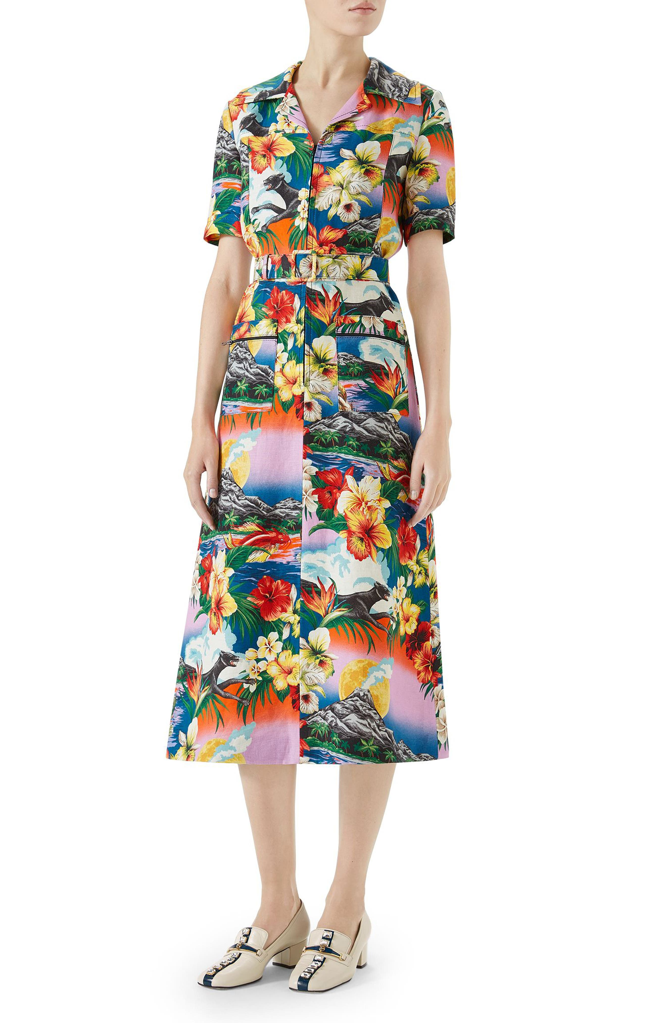 Belted Hawaiian Linen Shirtdress,                         Main,                         color, PINK/ BLU/ ORANGE PRINT