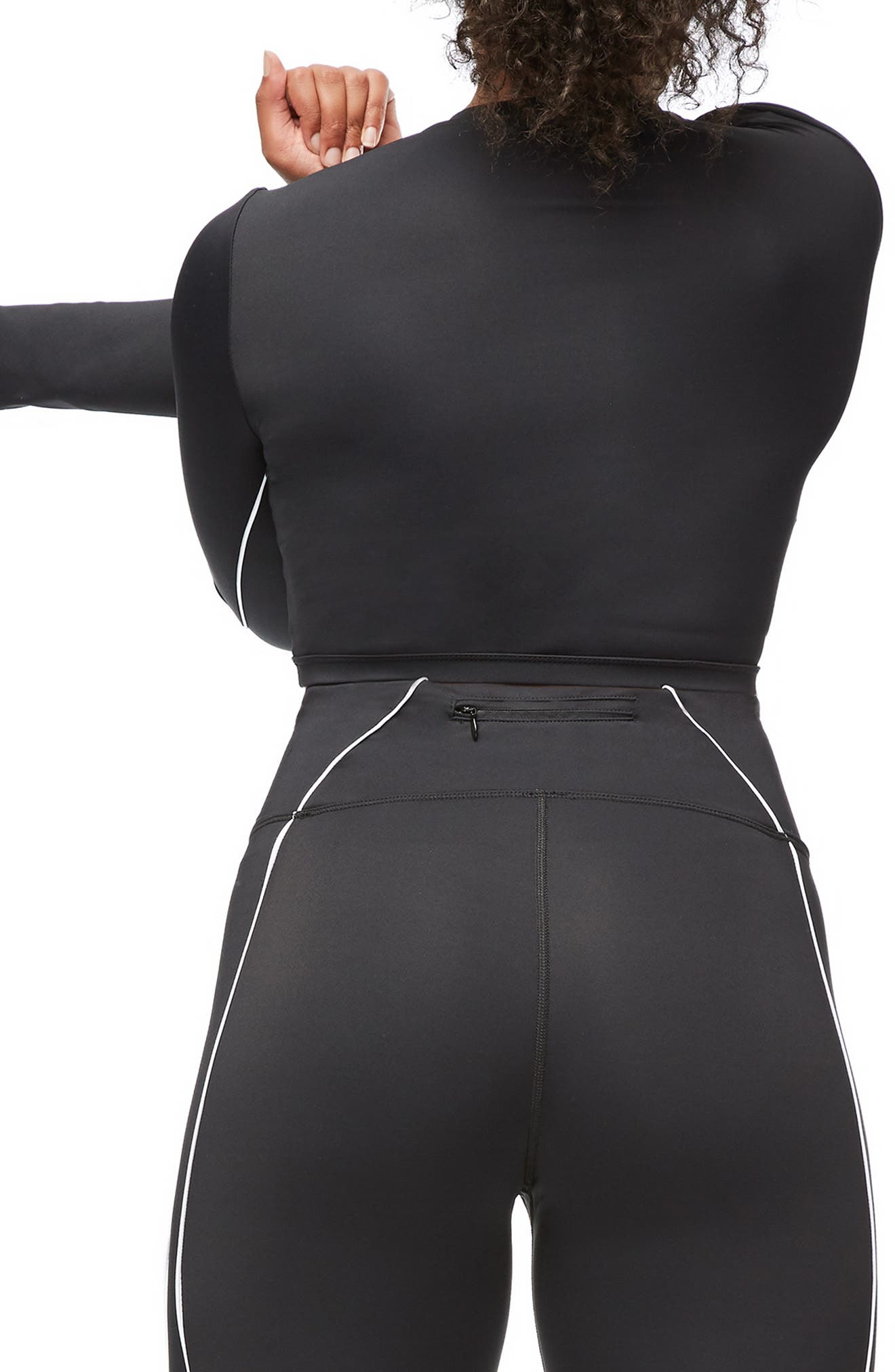 Piped Crop Top,                             Alternate thumbnail 7, color,                             BLACK001