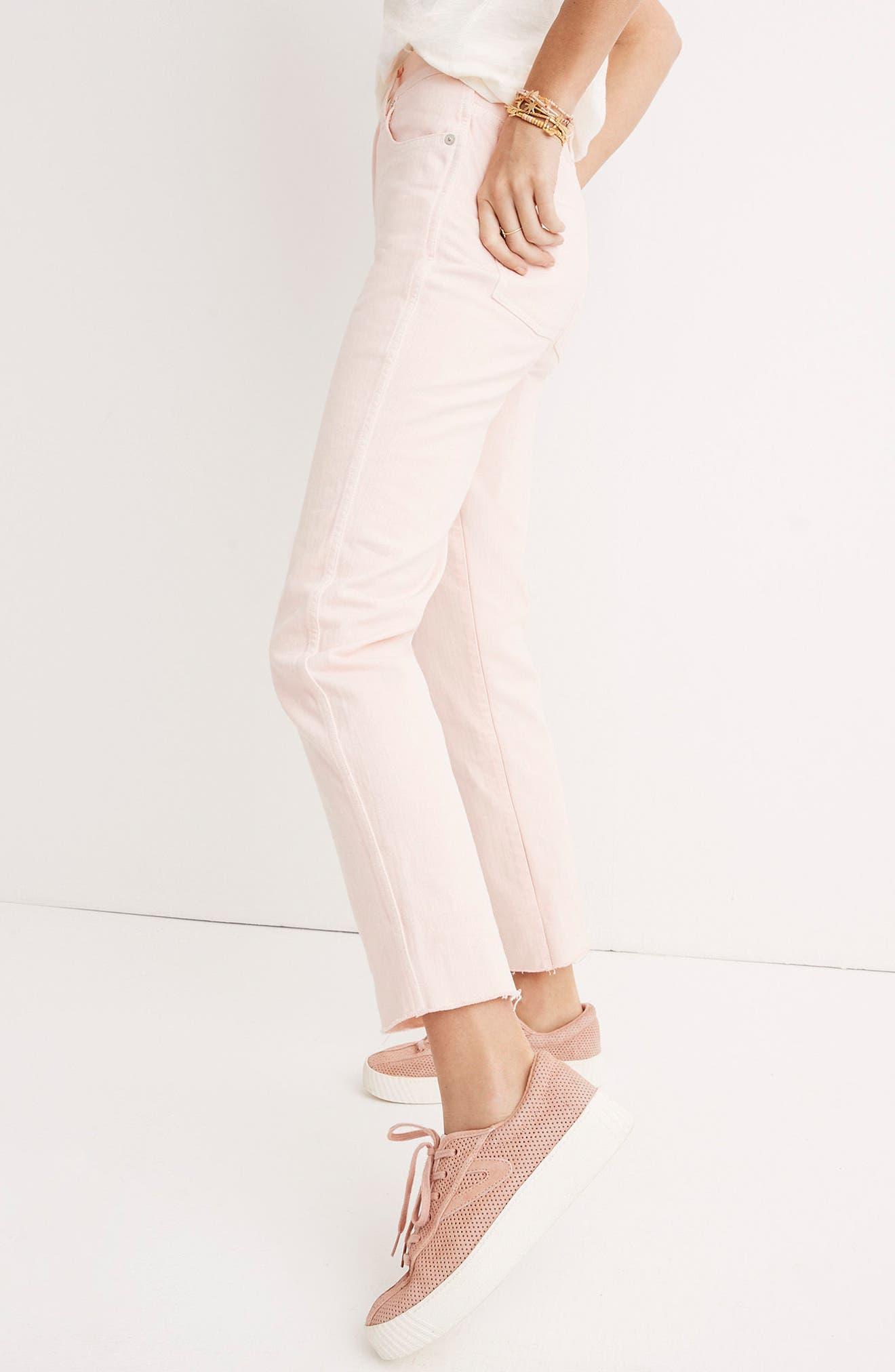 Garment Dyed High Waist Straight Leg Jeans,                             Alternate thumbnail 7, color,                             650
