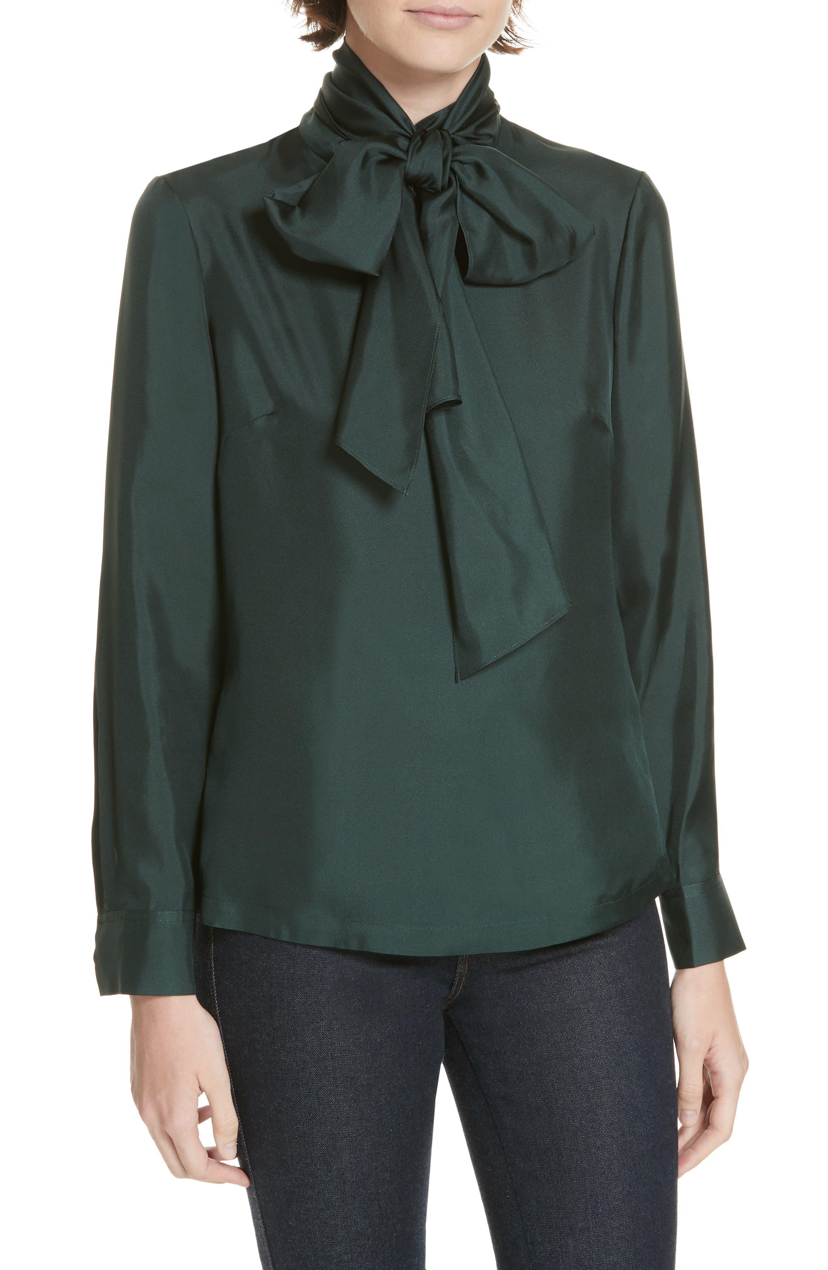 Marther Tie Neck Silk Blouse,                         Main,                         color, DARK GREEN