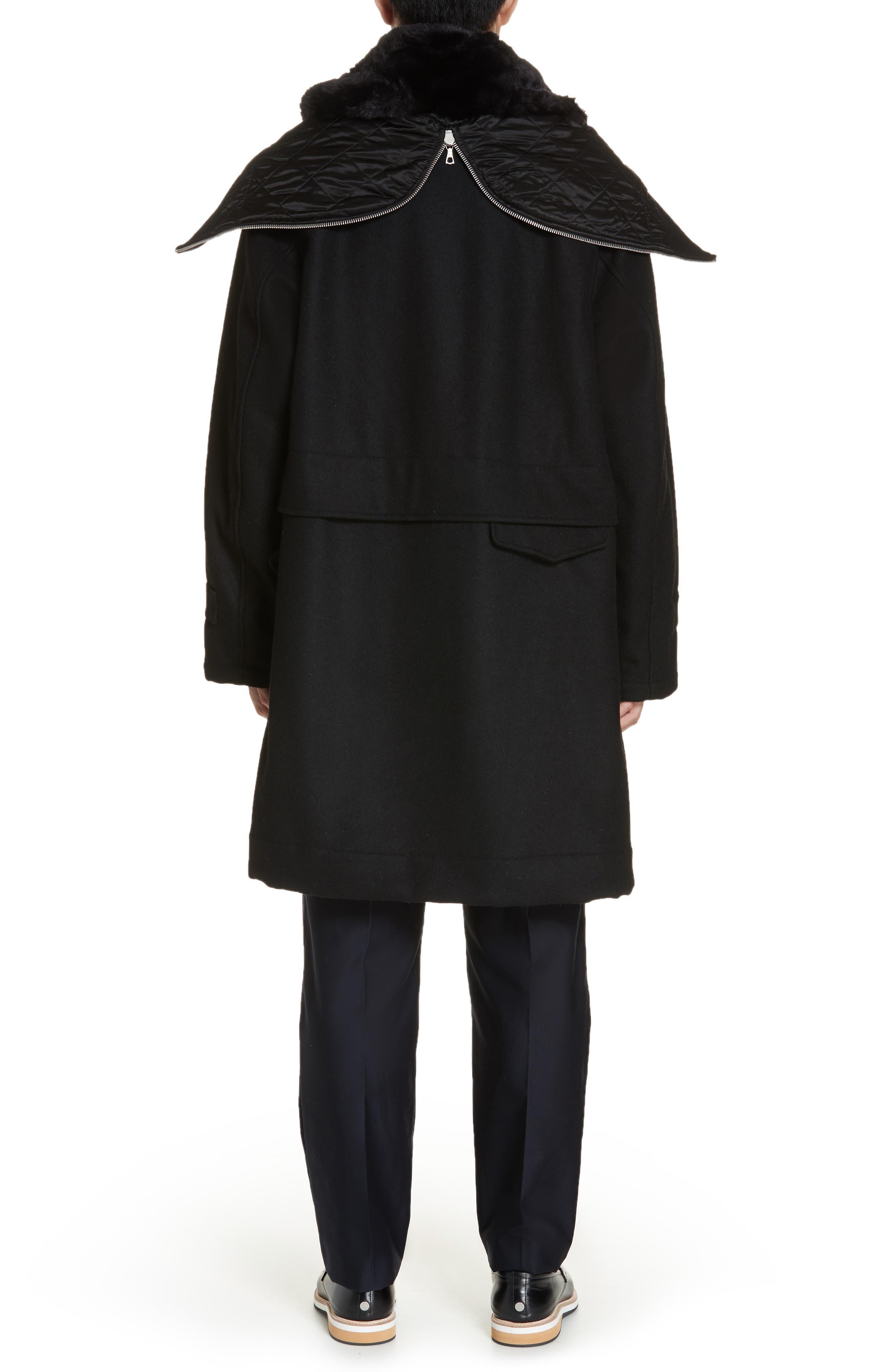 Verreli Hooded Parka with Faux Fur Trim,                             Alternate thumbnail 3, color,                             BLACK 900