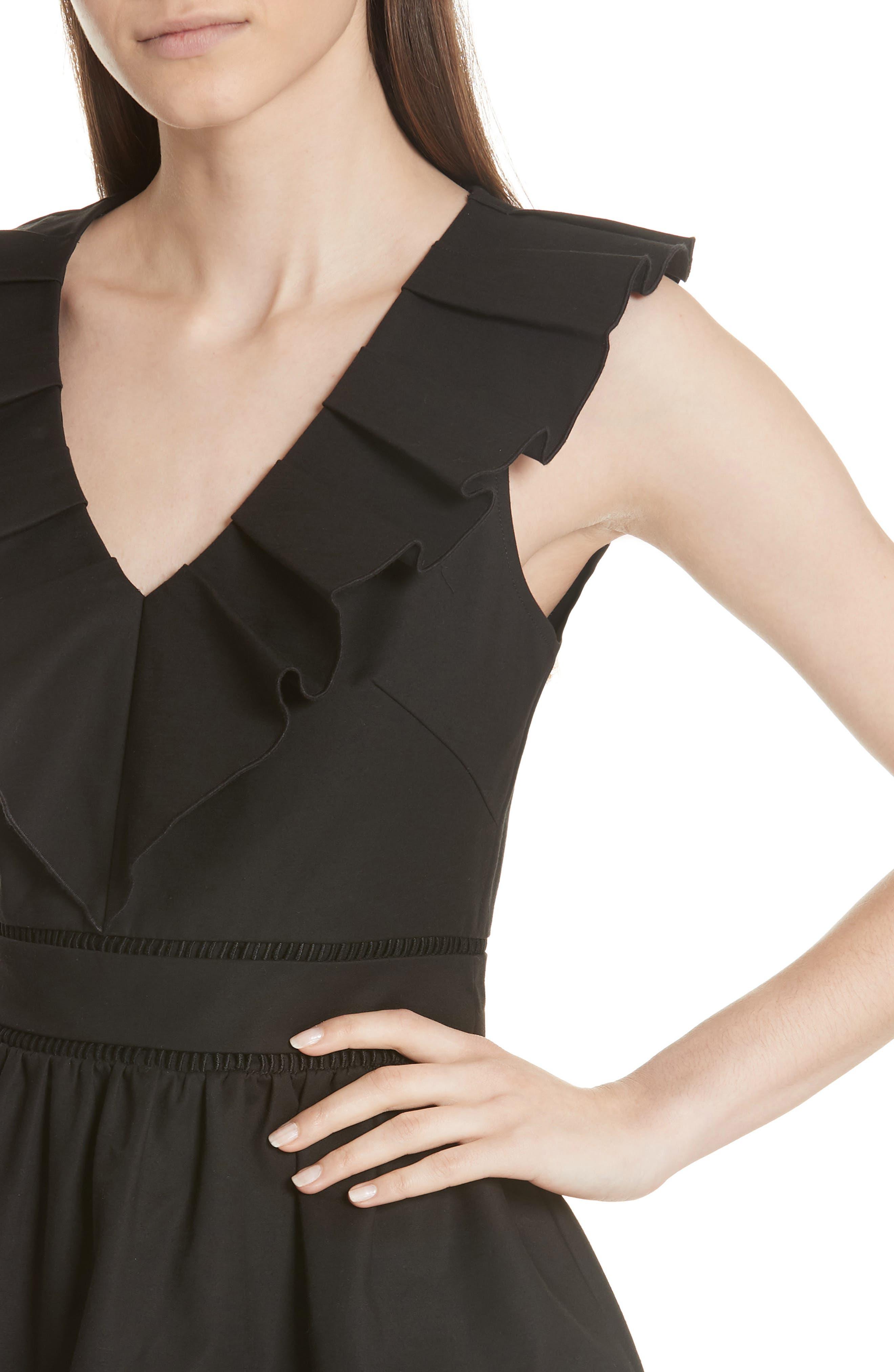 ruffle neck stretch cotton peplum blouse,                             Alternate thumbnail 7, color,