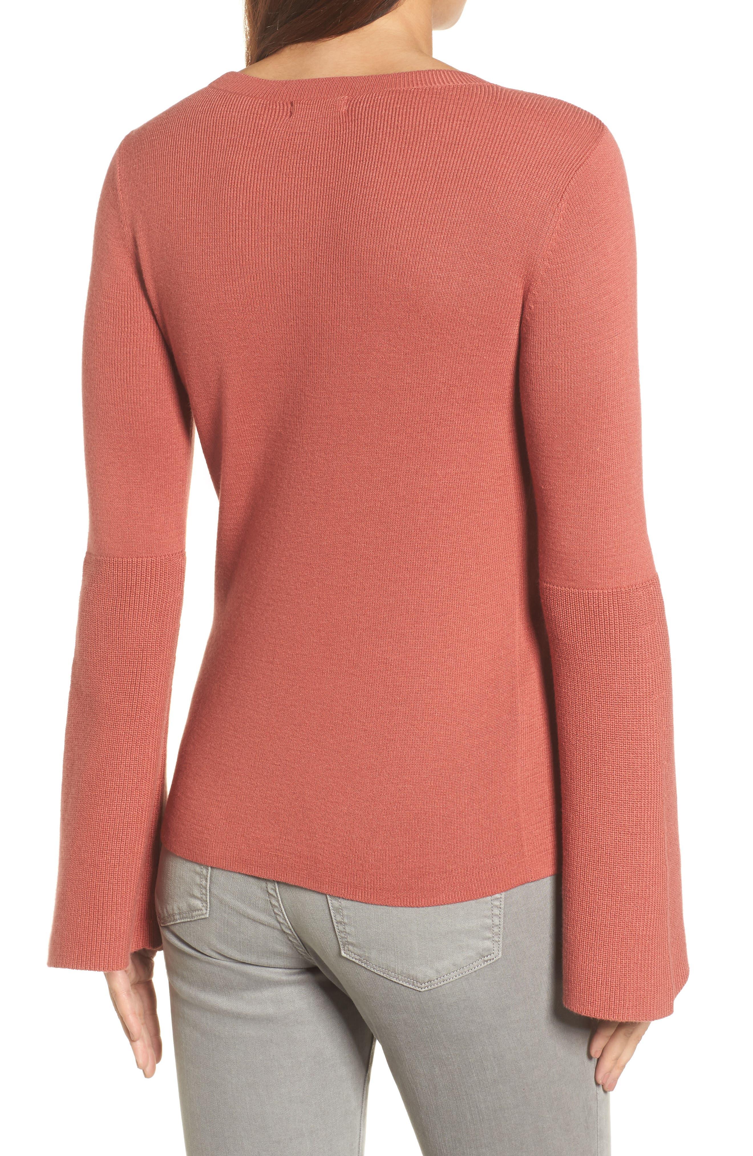 Bell Sleeve Rib Sweater,                             Alternate thumbnail 8, color,