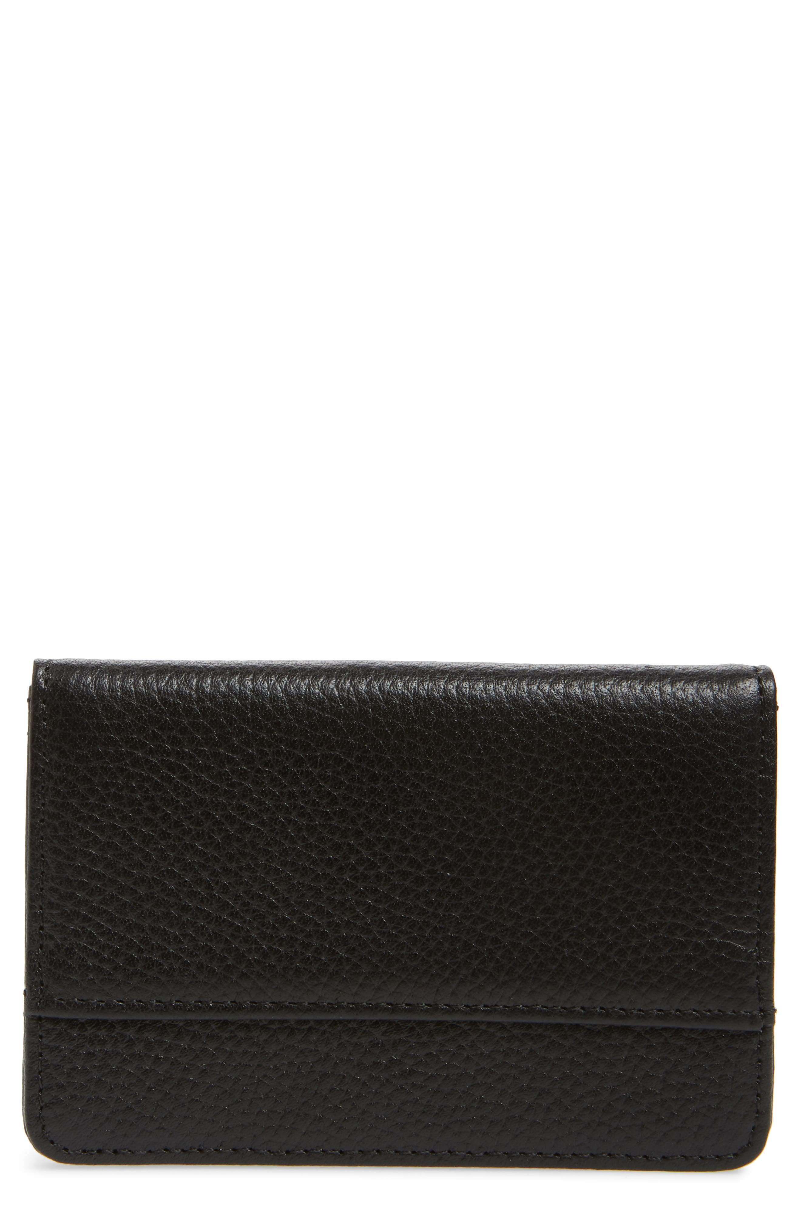 Ruby Pebbled Leather Cardholder,                             Main thumbnail 1, color,                             BLACK