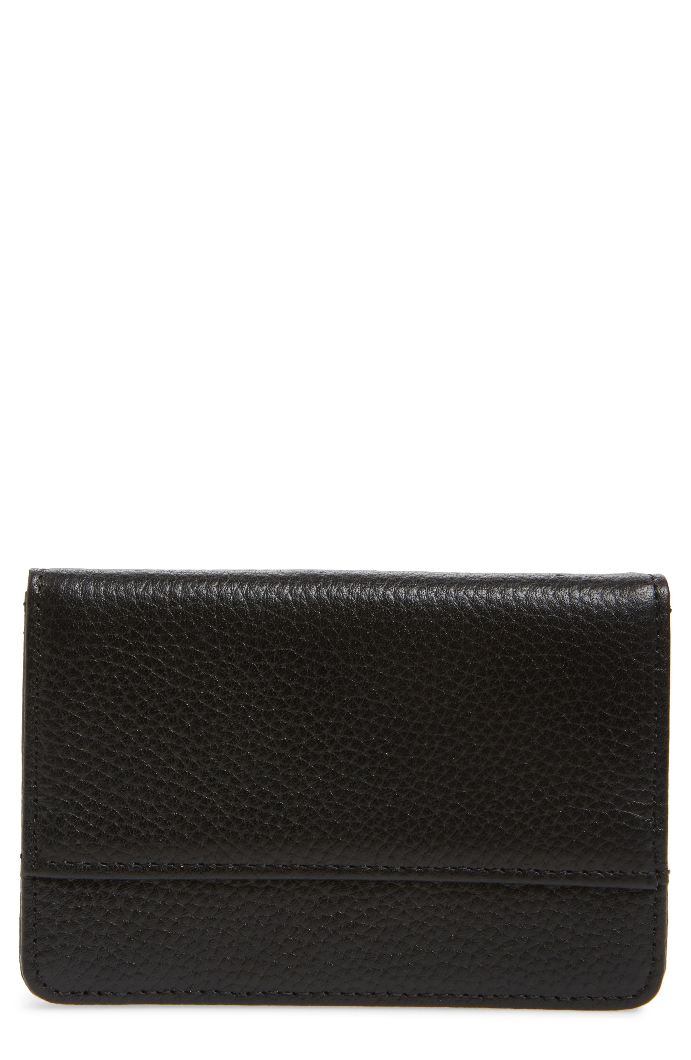 Ruby Pebbled Leather Cardholder,                         Main,                         color, BLACK