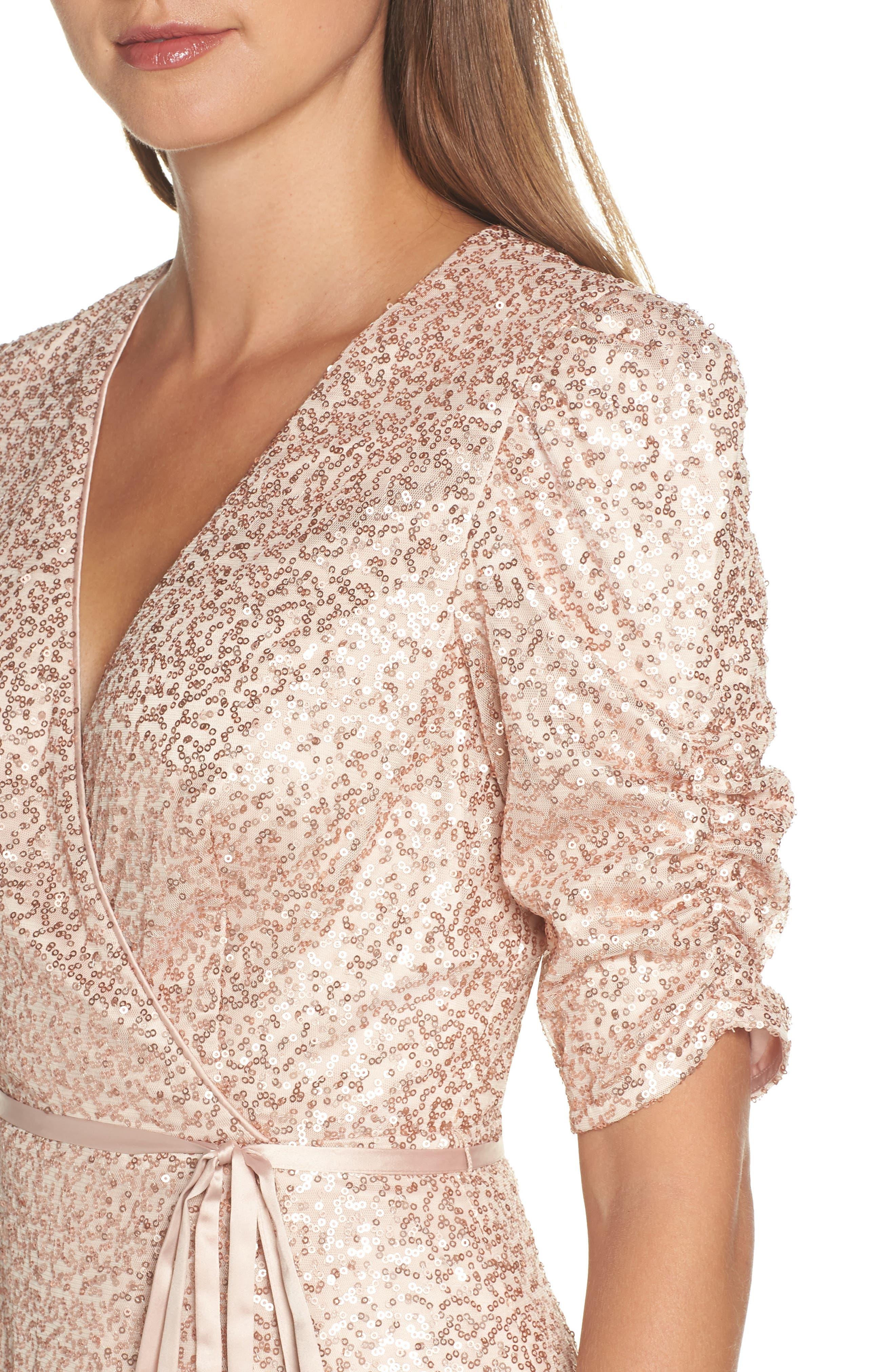 ELIZA J,                             Sequin Faux Wrap Dress,                             Alternate thumbnail 4, color,                             250
