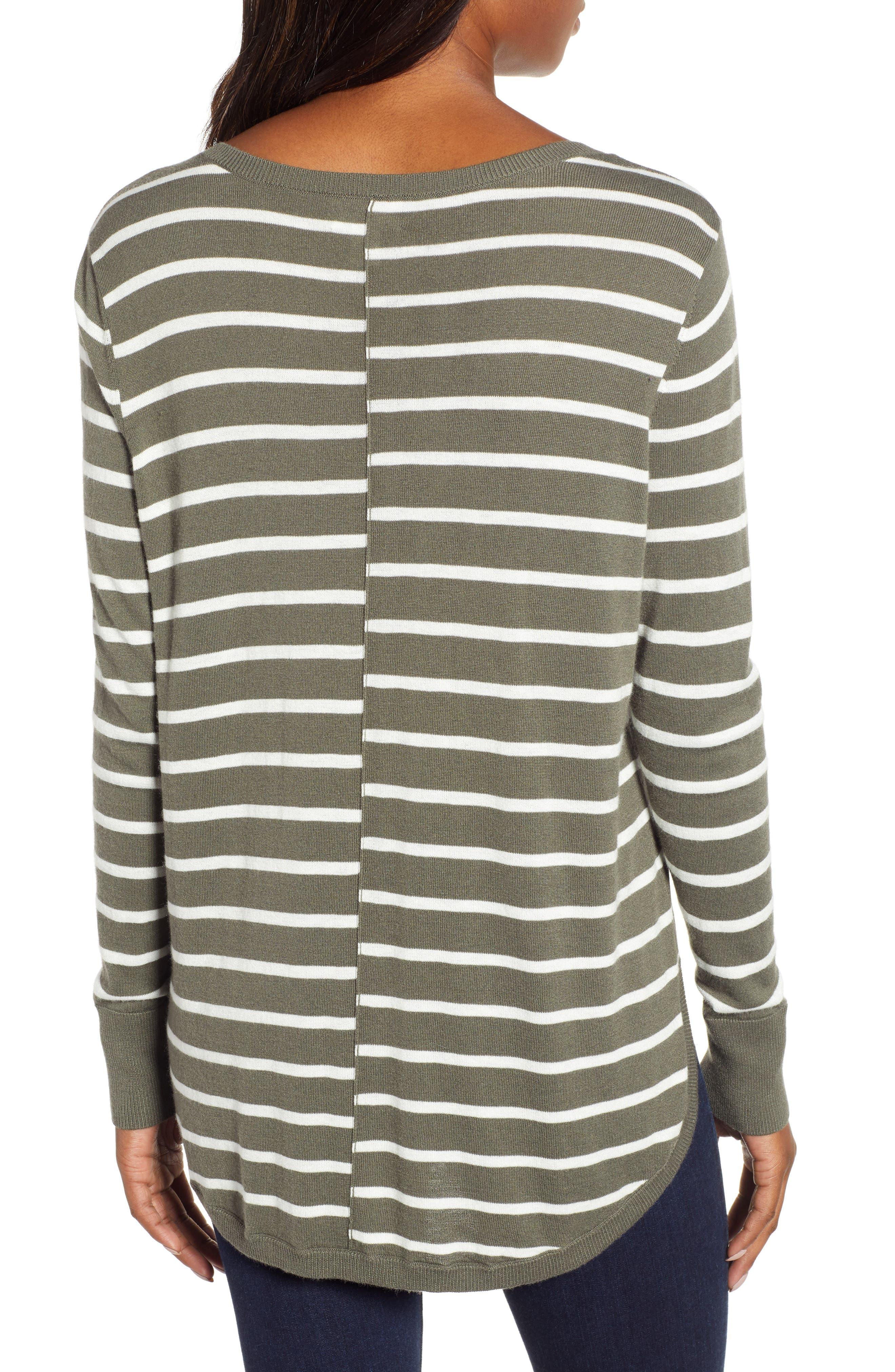 High-Low V-neck Sweater,                             Alternate thumbnail 2, color,                             GREEN- IVORY PRITHI STRIPE