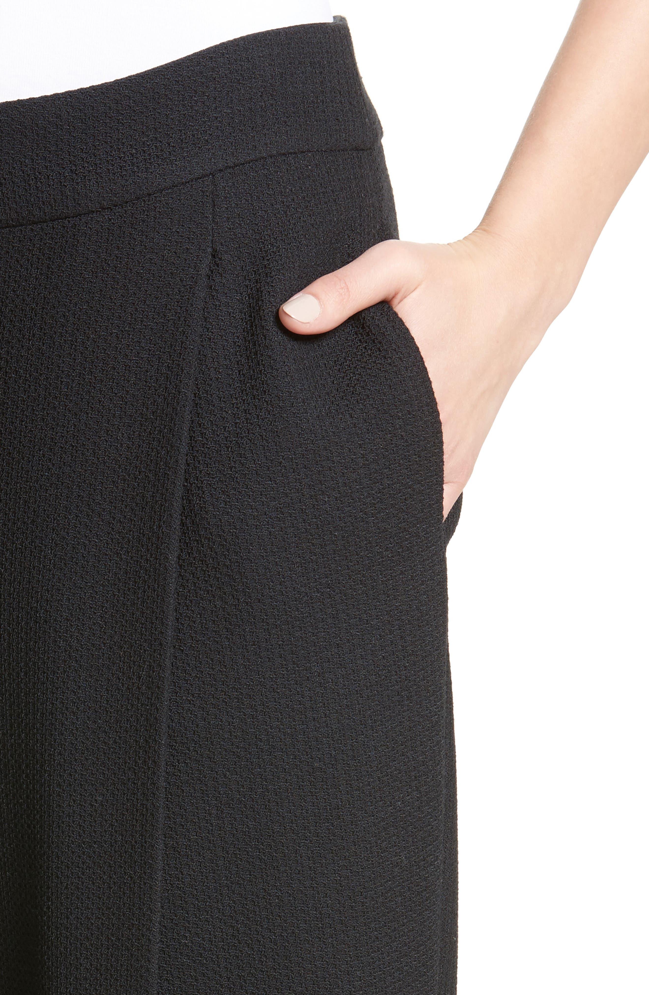 Stretch Wool Wide Leg Pants,                             Alternate thumbnail 4, color,                             001