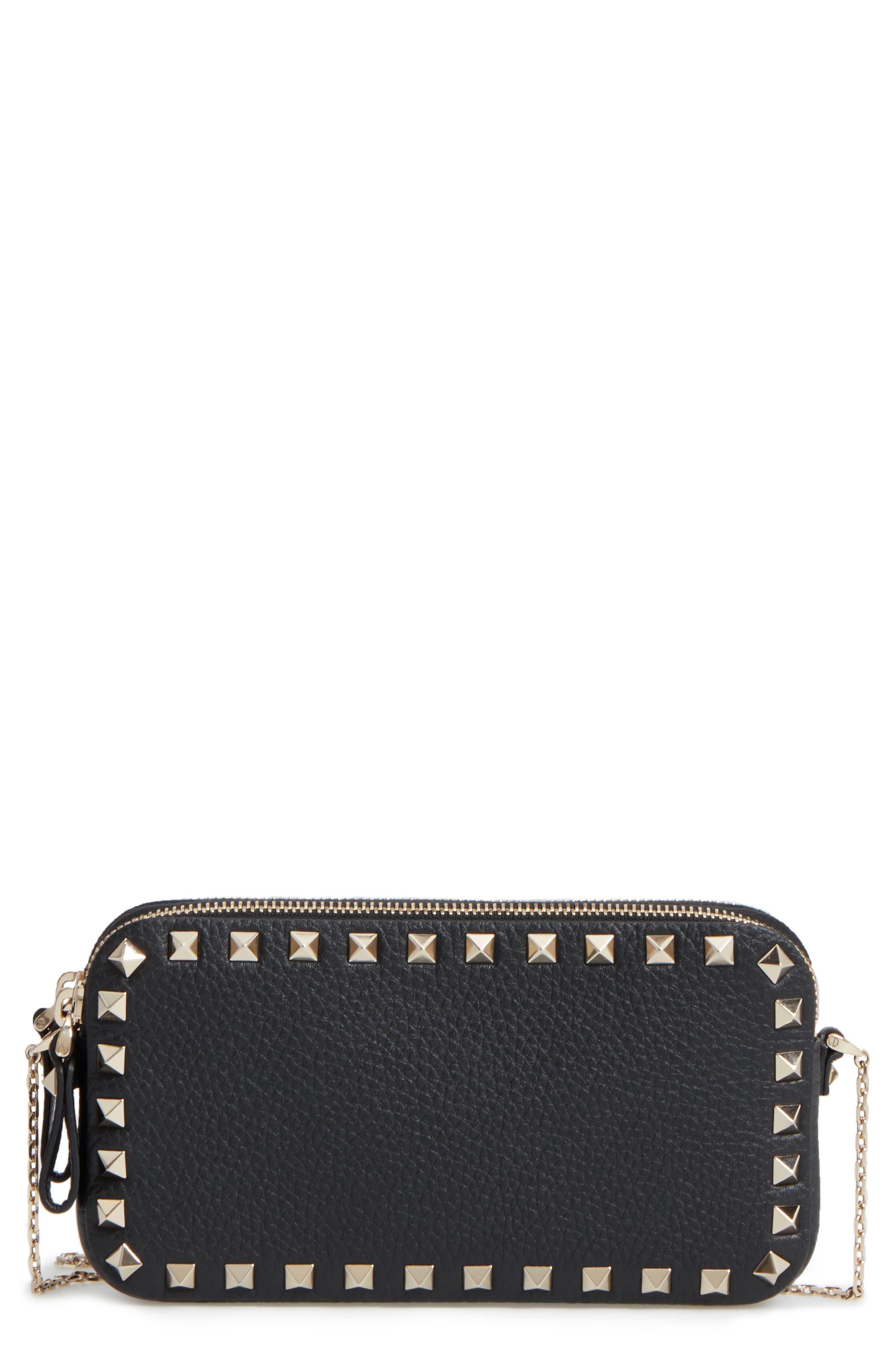 Rockstud Leather Crossbody Bag,                         Main,                         color,