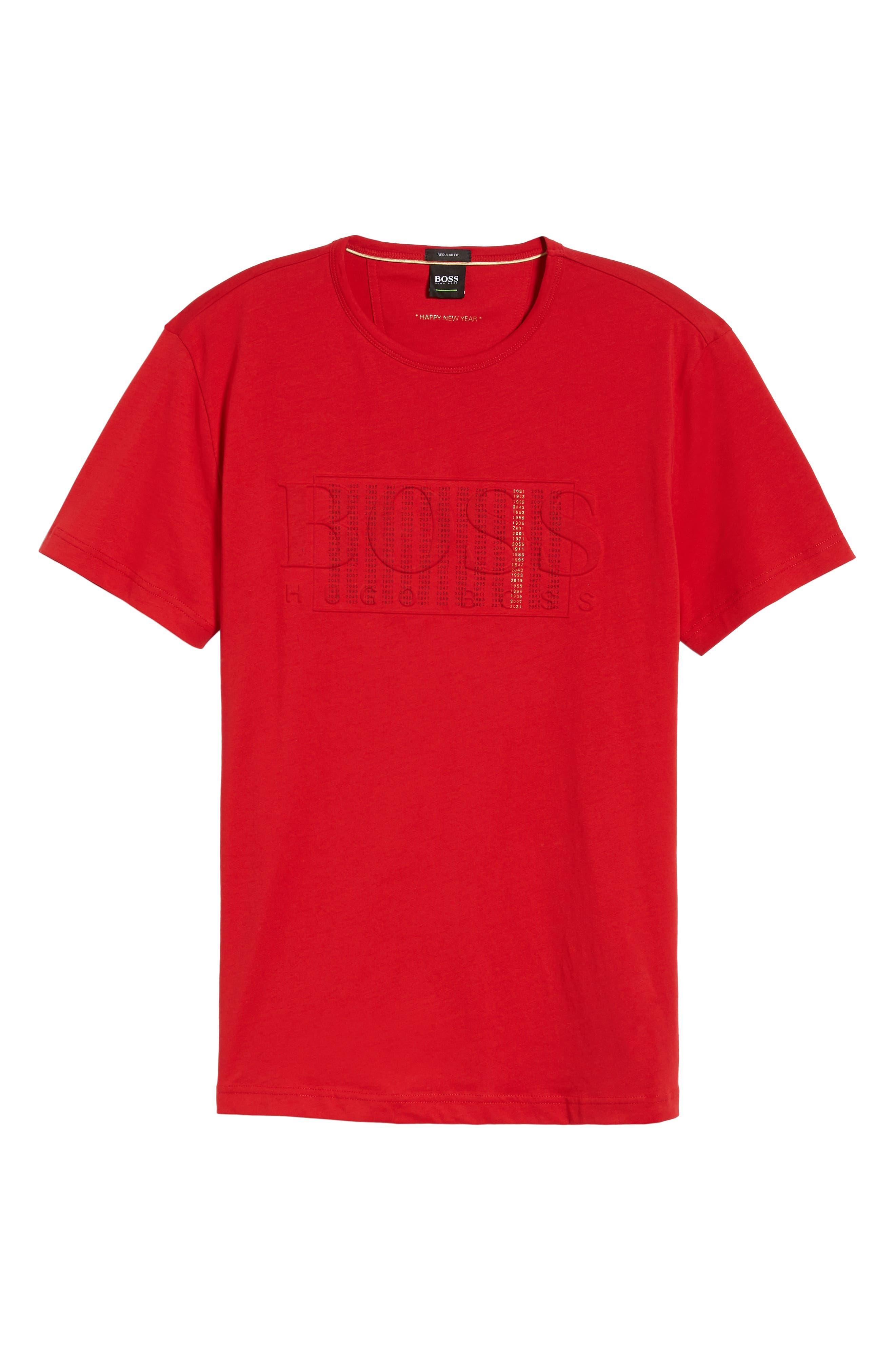 BOSS,                             CNY Regular Fit T-Shirt,                             Alternate thumbnail 6, color,                             RED