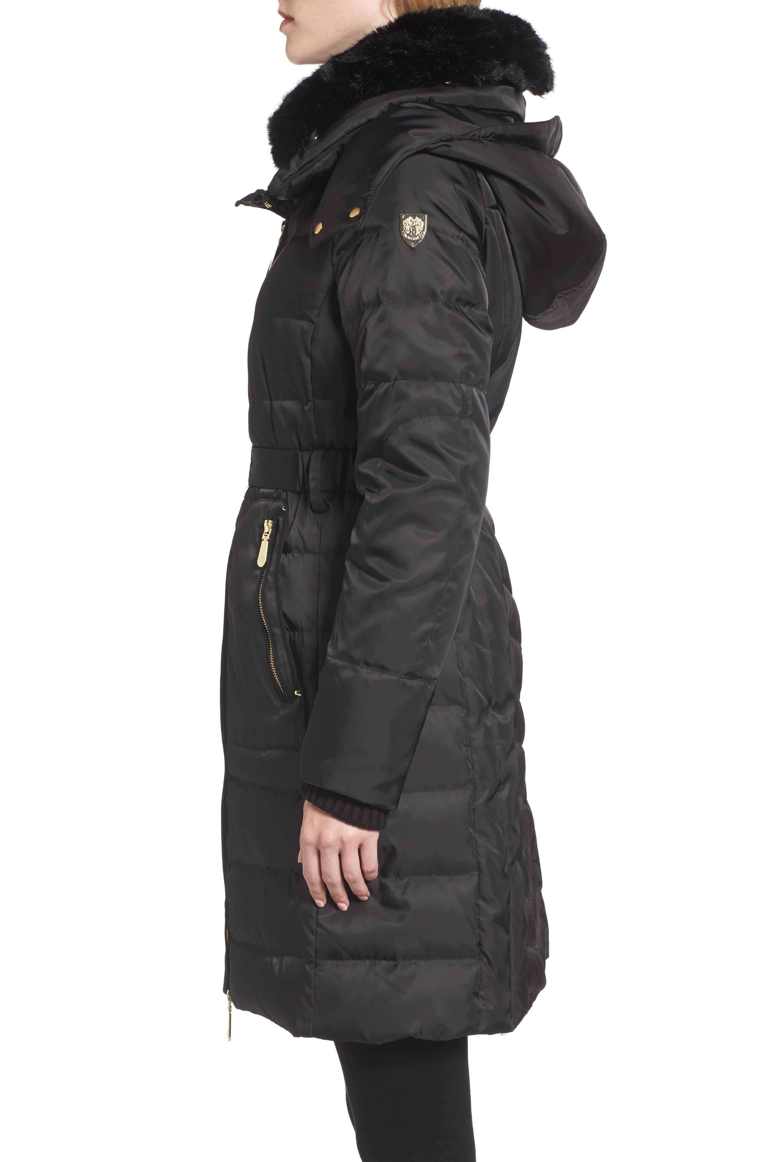 Belted Coat with Detachable Faux Fur,                             Alternate thumbnail 3, color,                             001