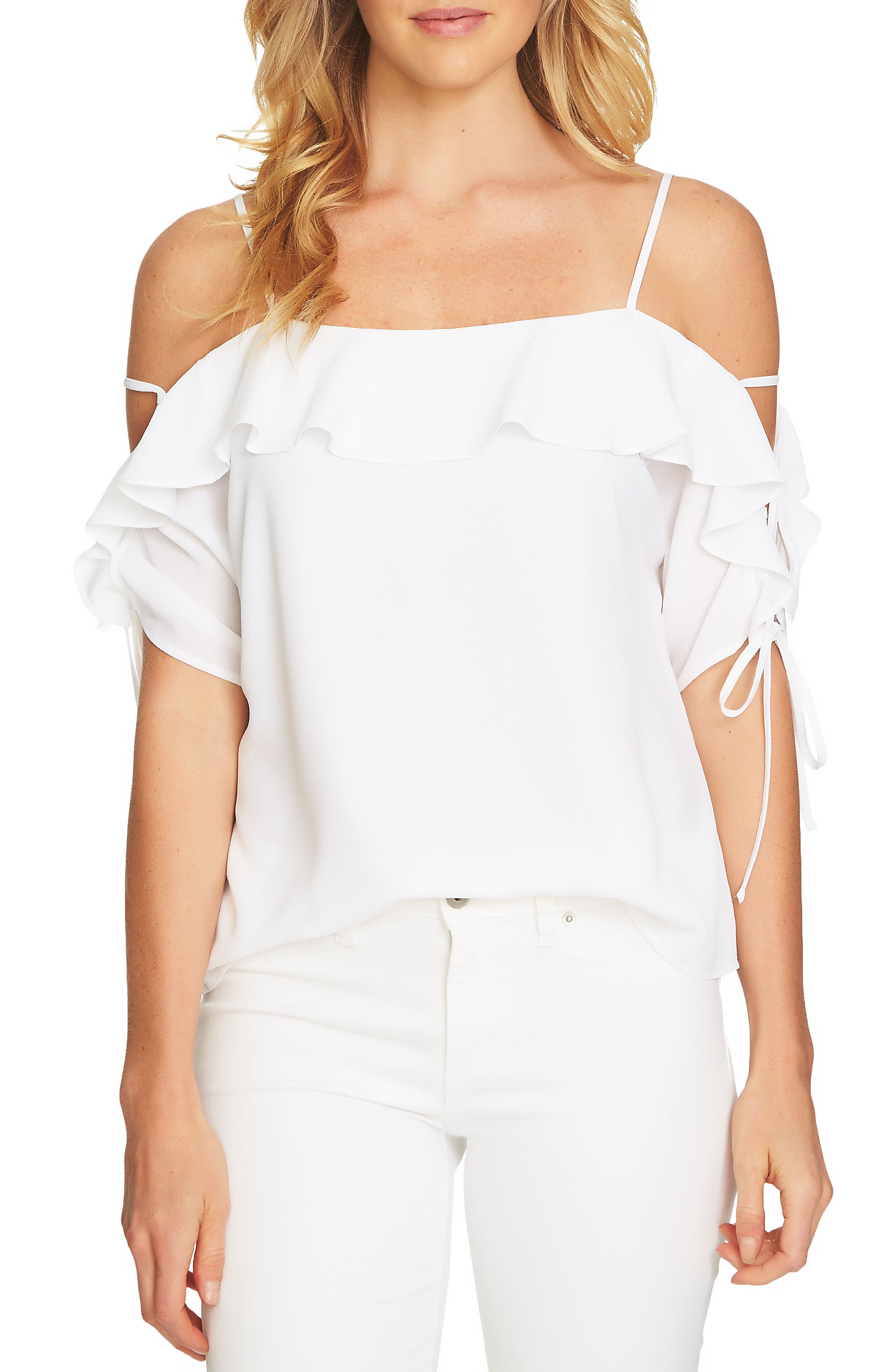 Cold Shoulder Ruffle Stretch Crepe Top,                             Main thumbnail 1, color,