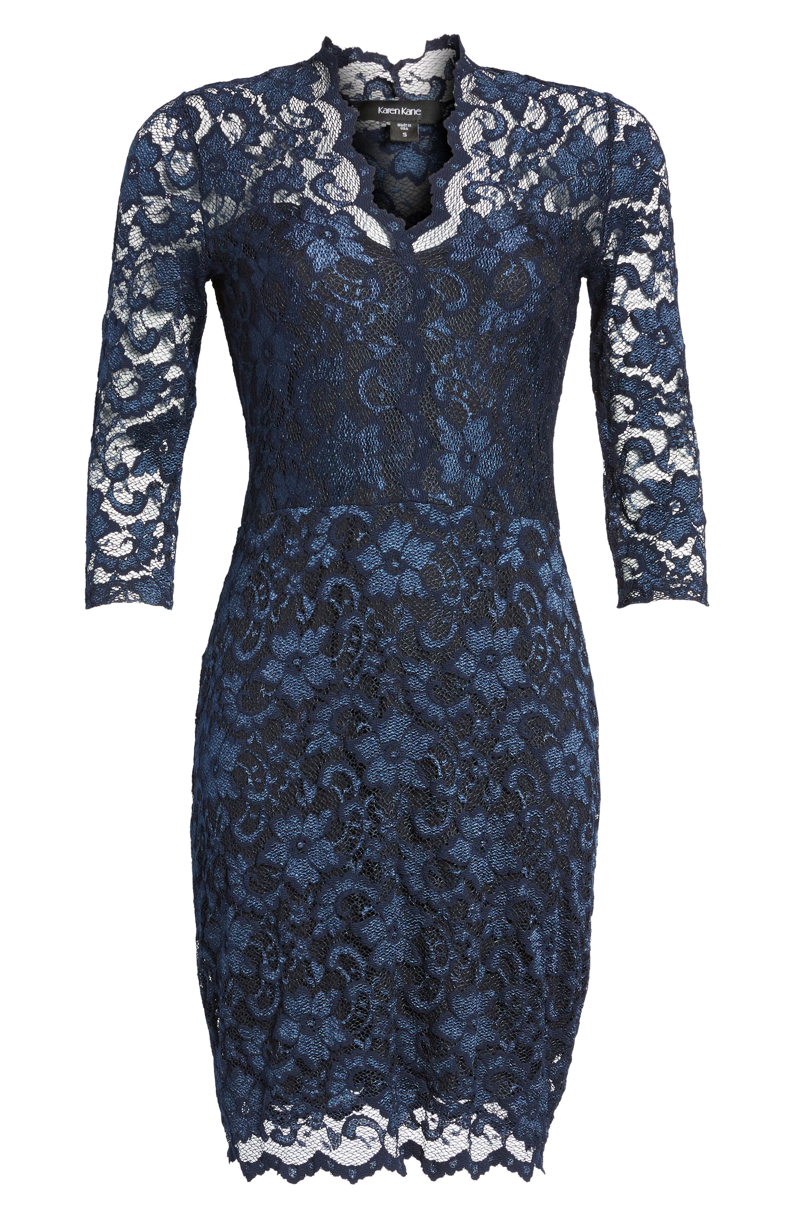 Karen Kane Scalloped Lace Sheath Dress, Blue