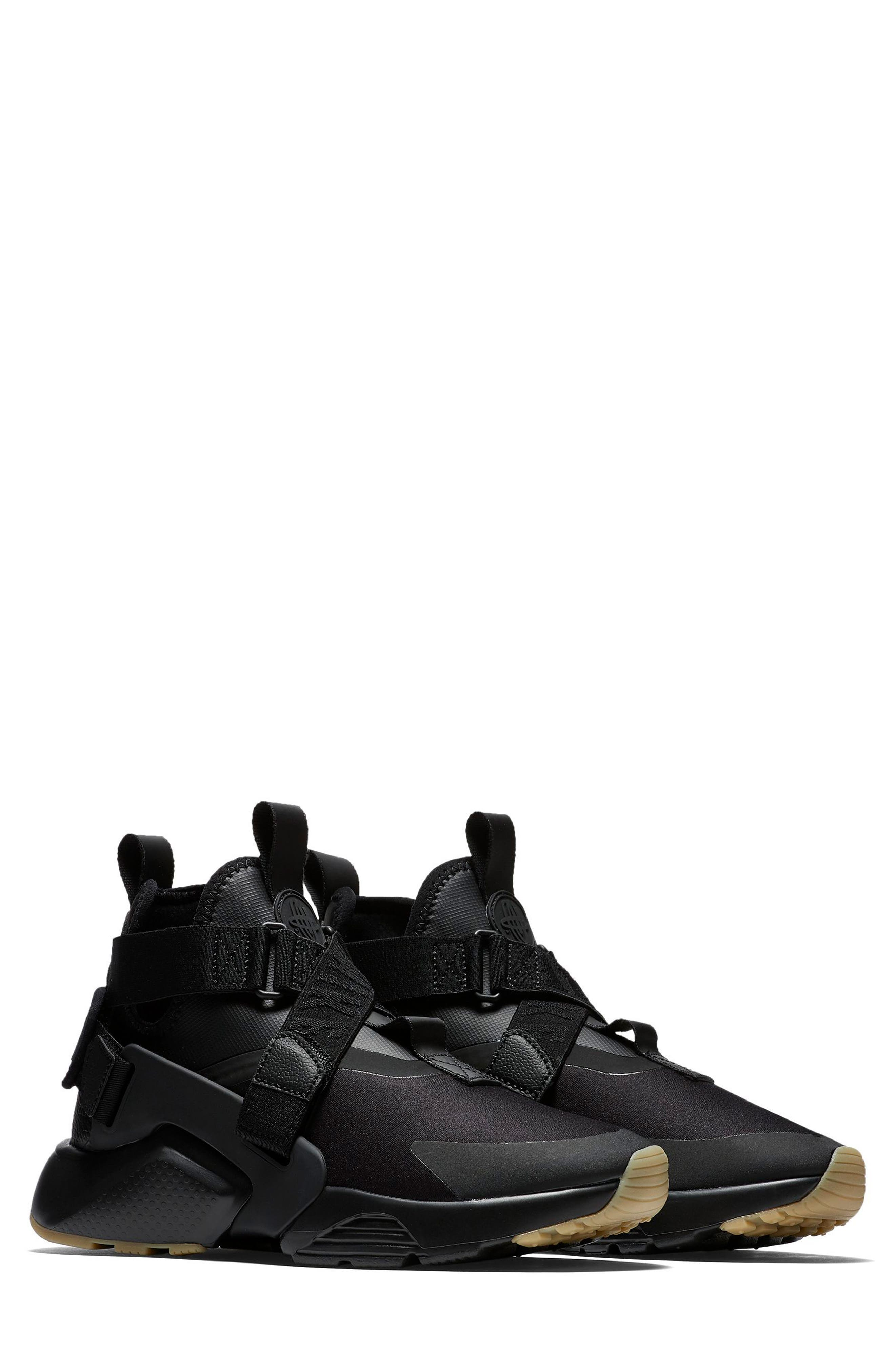 Air Huarache City Sneaker,                         Main,                         color, BLACK/ BLACK/ DARK GREY