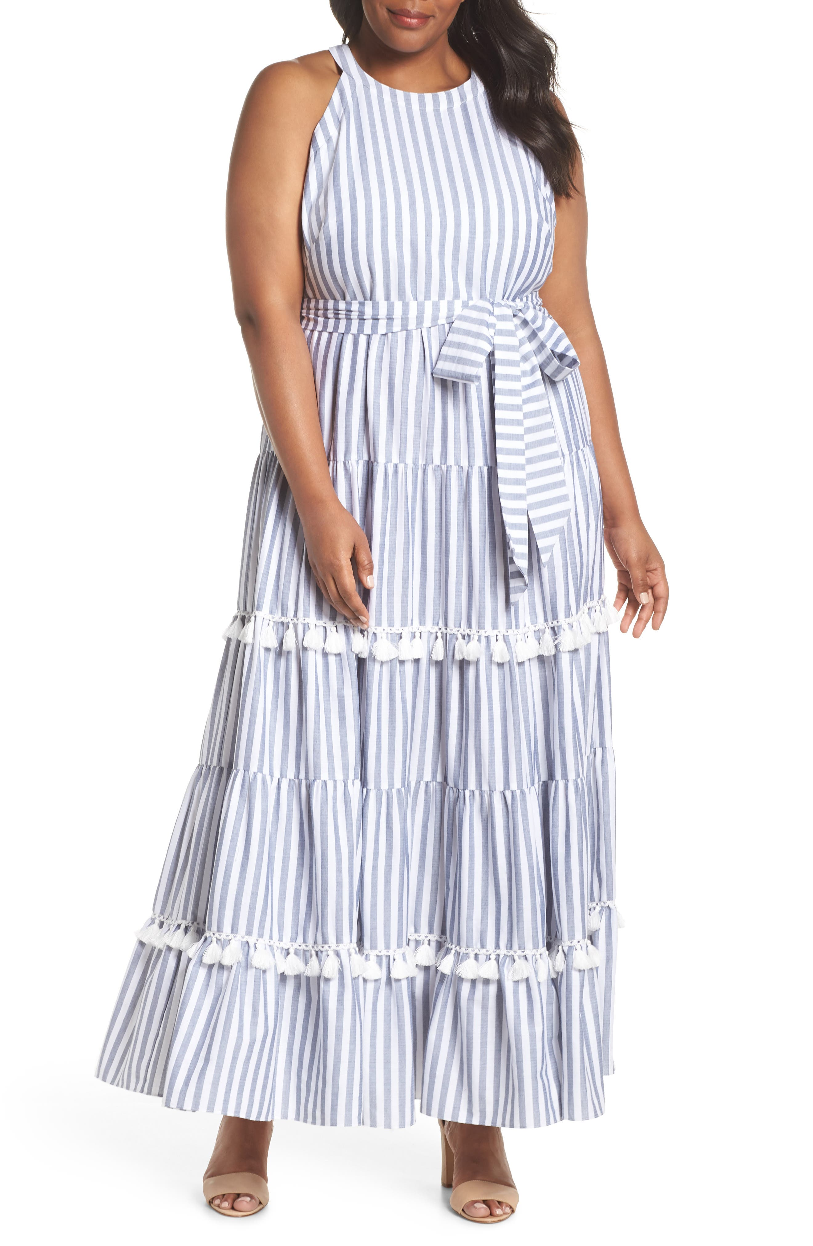 Tiered Stripe Halter Maxi Dress,                         Main,                         color, IVORY