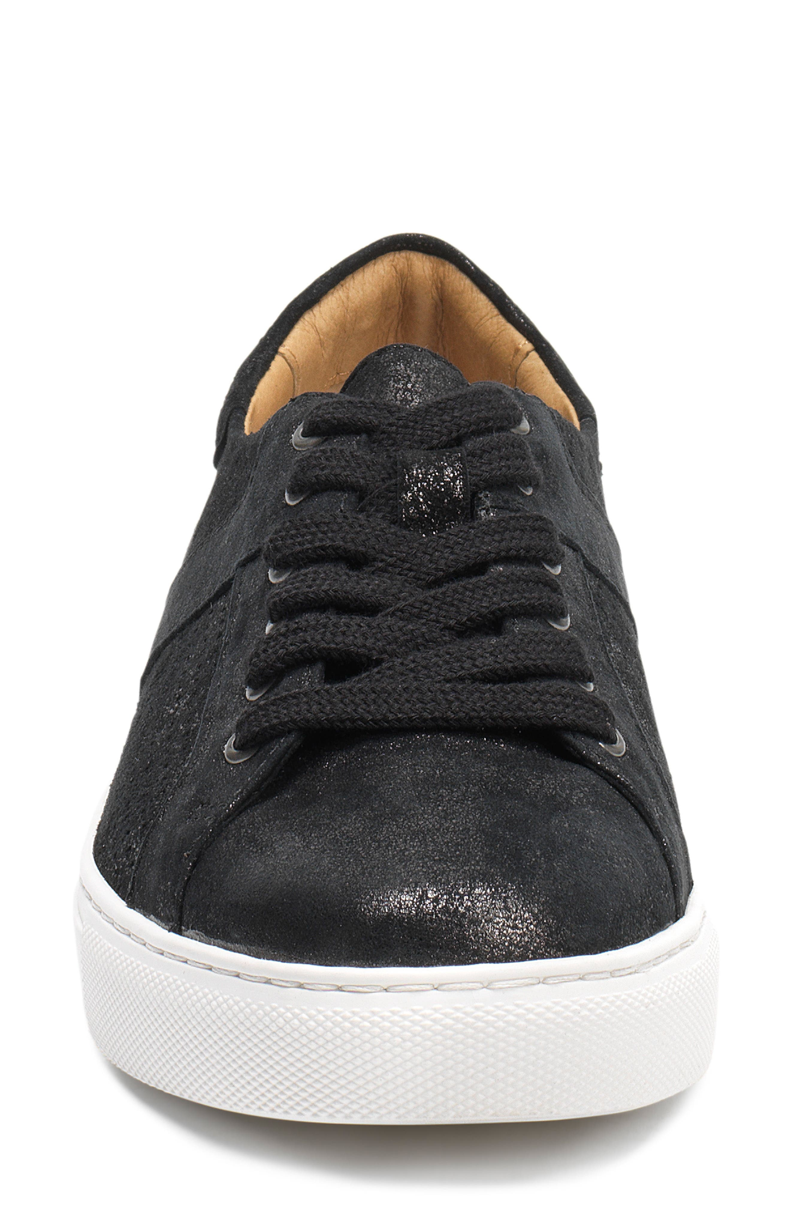 Lindsey Sneaker,                             Alternate thumbnail 4, color,                             BLACK METALLIC LEATHER
