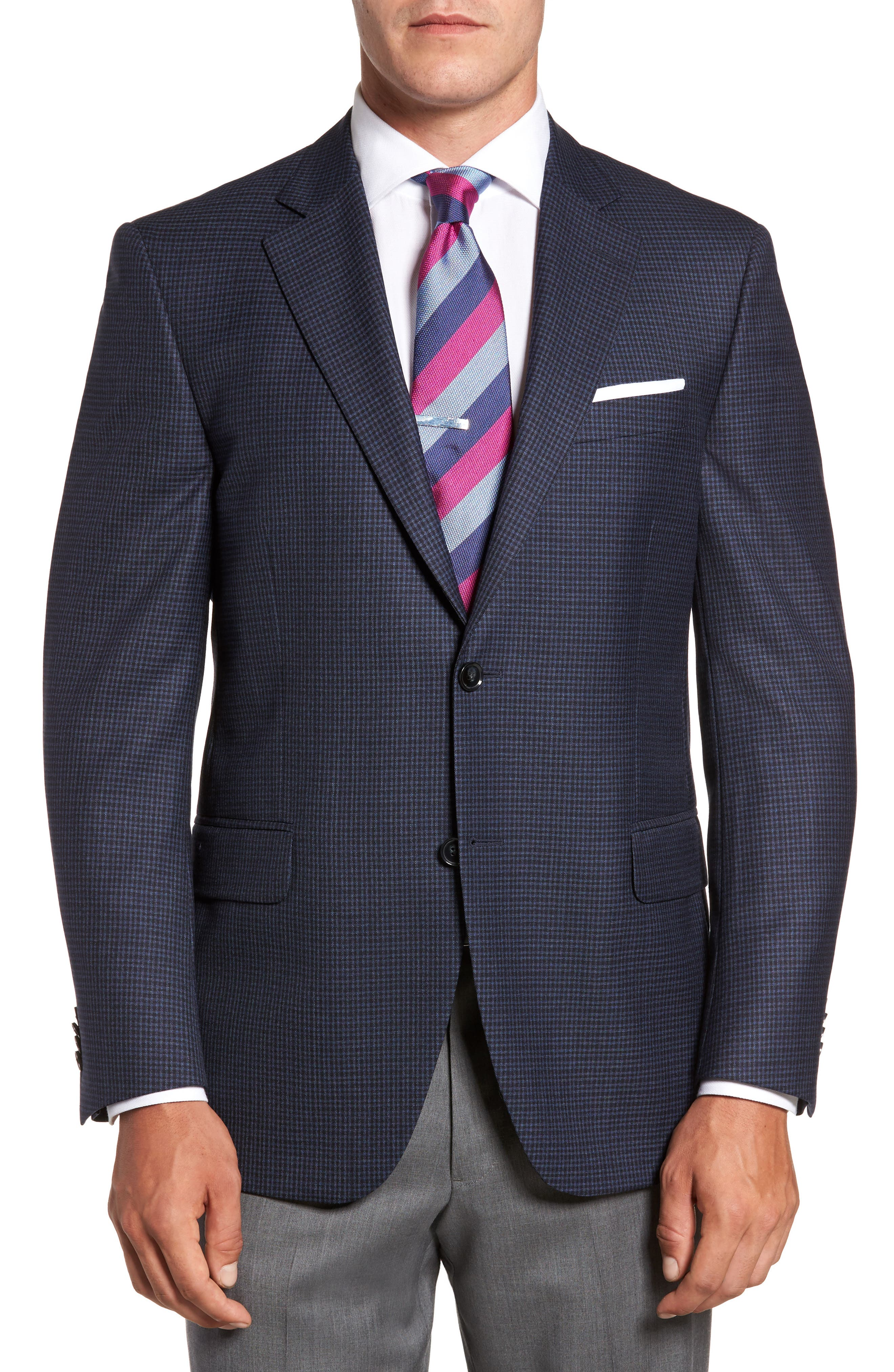 Flynn Classic Fit Check Wool Sport Coat,                             Main thumbnail 1, color,                             410