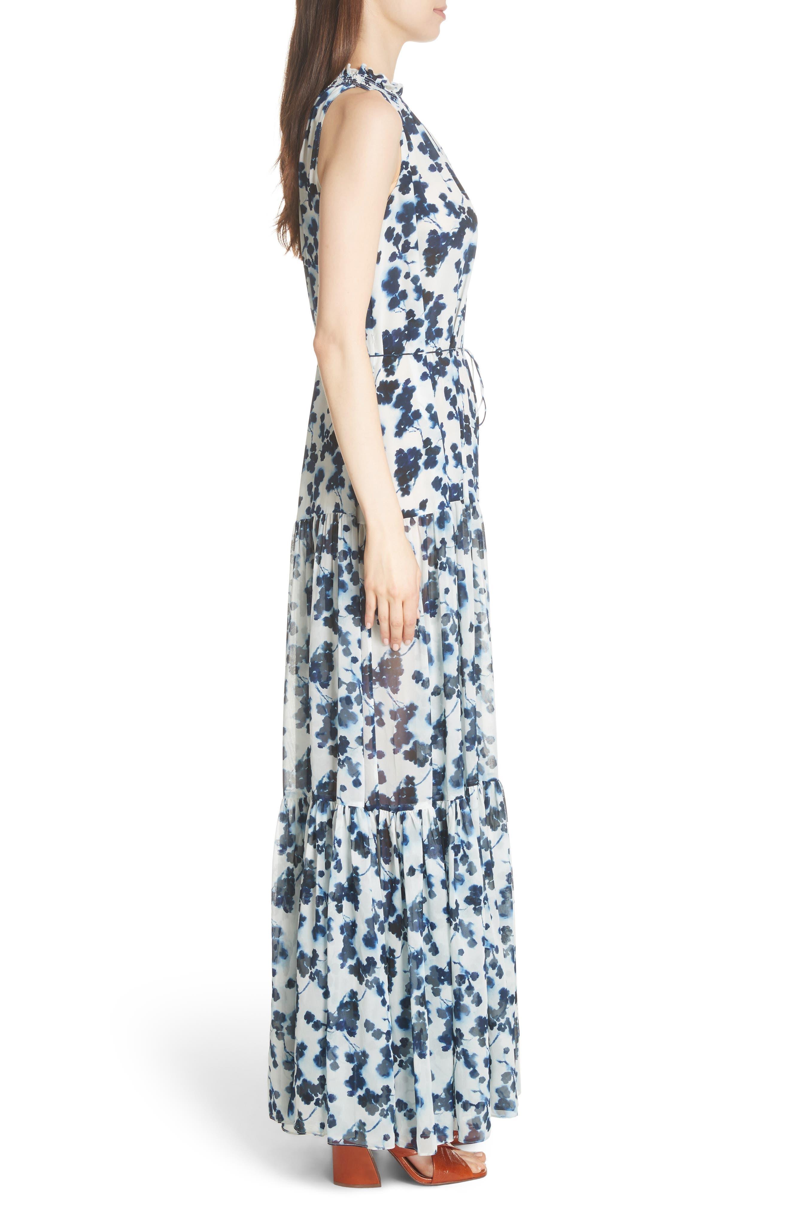Lani P Floral Print Silk Dress,                             Alternate thumbnail 3, color,                             426