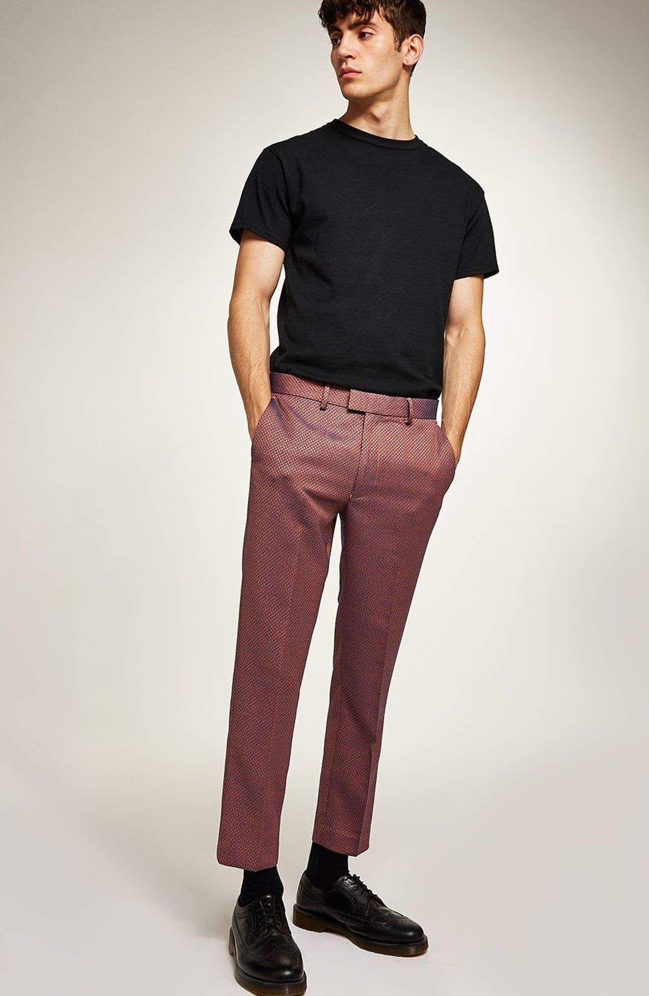 Skinny Fit Jacquard Trousers,                             Alternate thumbnail 4, color,                             RED